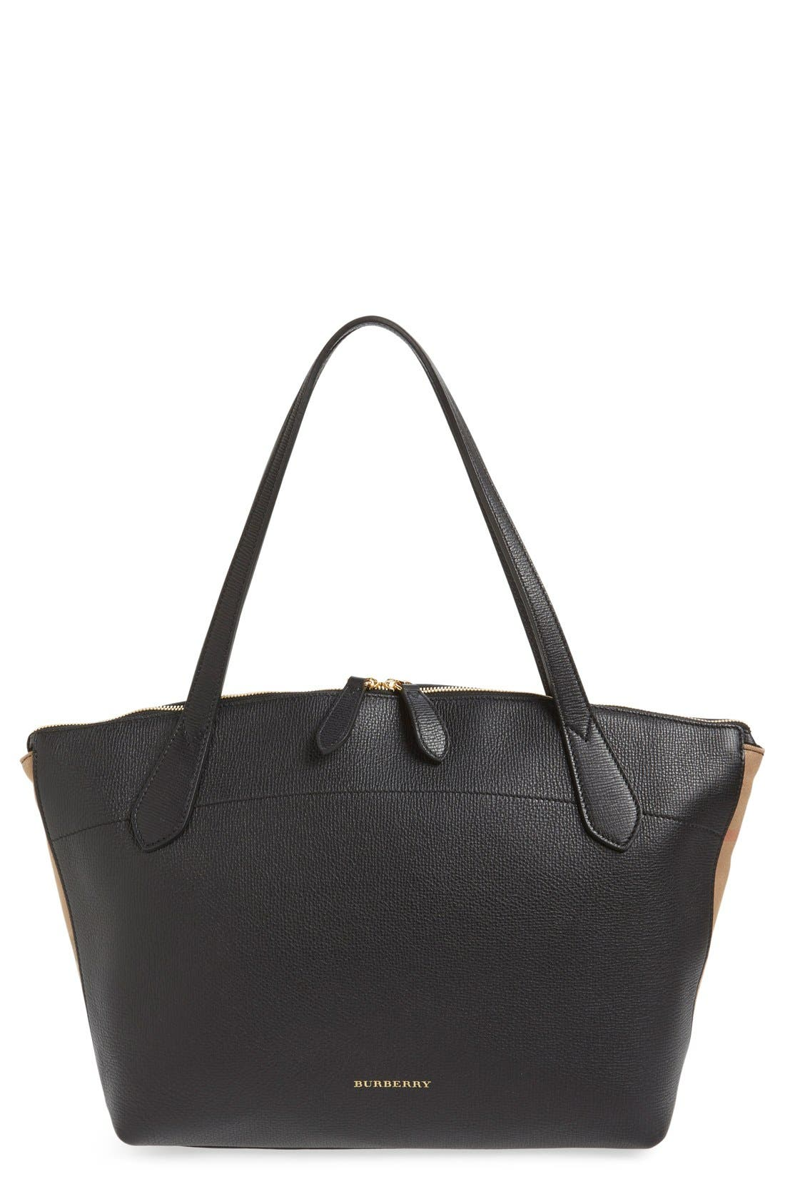 Welburn Check Leather Tote,                         Main,                         color, Black