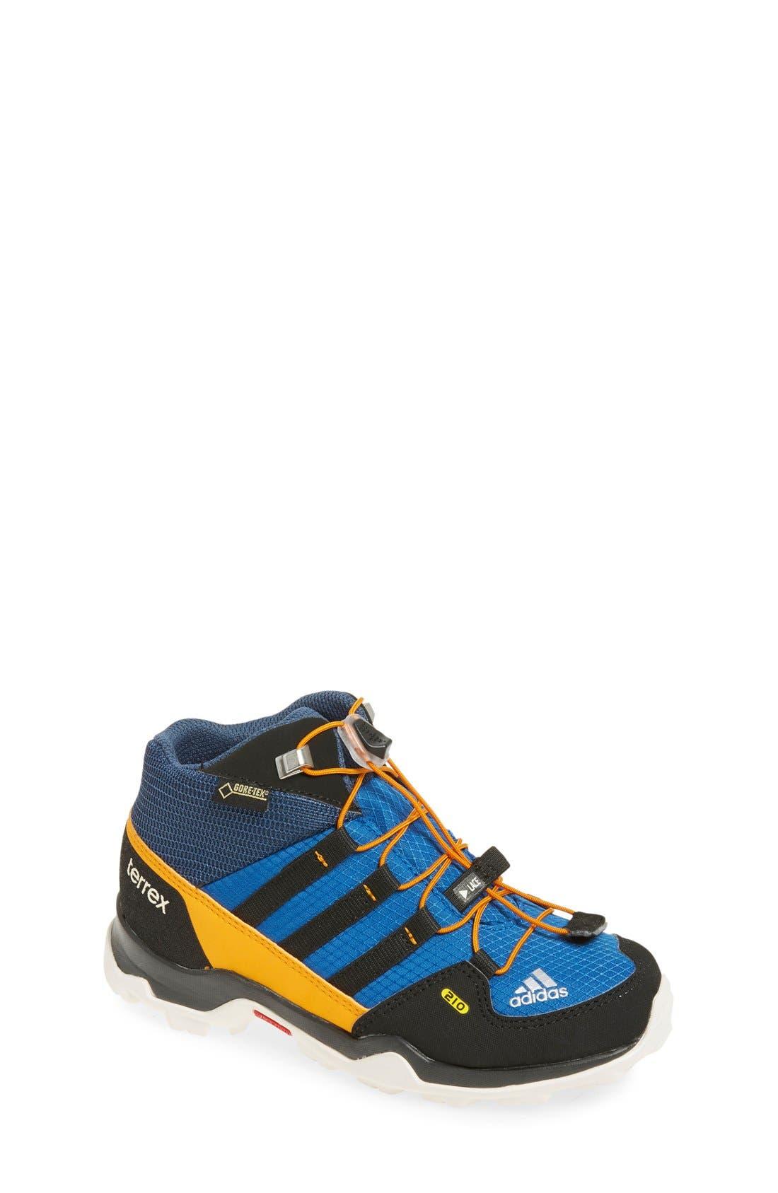 'Terrex Mid Gore-Tex' Hiking Shoe,                         Main,                         color, Blue/ Black/ Orange
