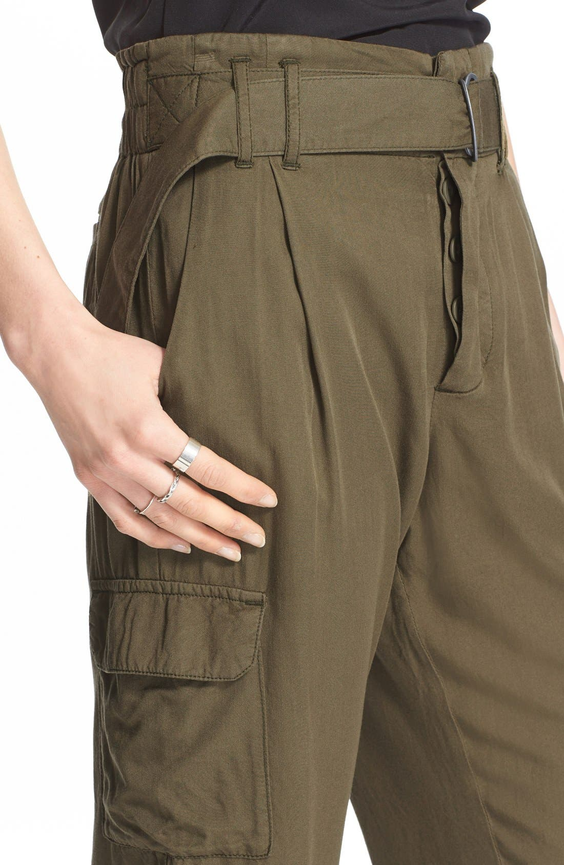 Crop Cargo Pants,                             Alternate thumbnail 4, color,                             Army