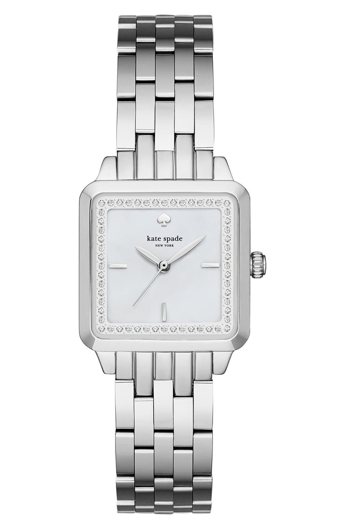 washington square bracelet watch, 25mm,                         Main,                         color, Silver/ Mother Of Pearl