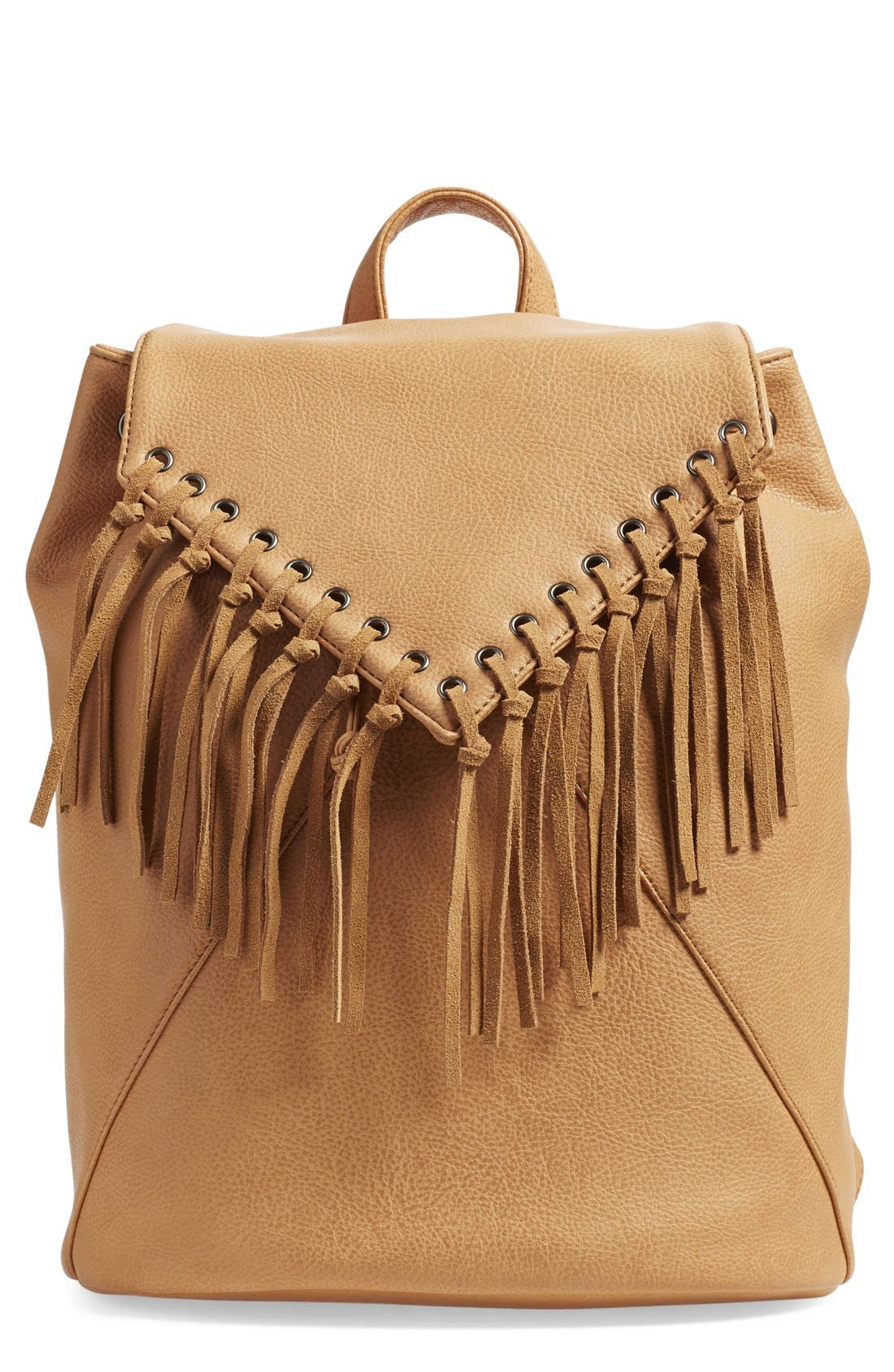 'Hartley' Faux Leather Backpack,                             Main thumbnail 1, color,                             Camel