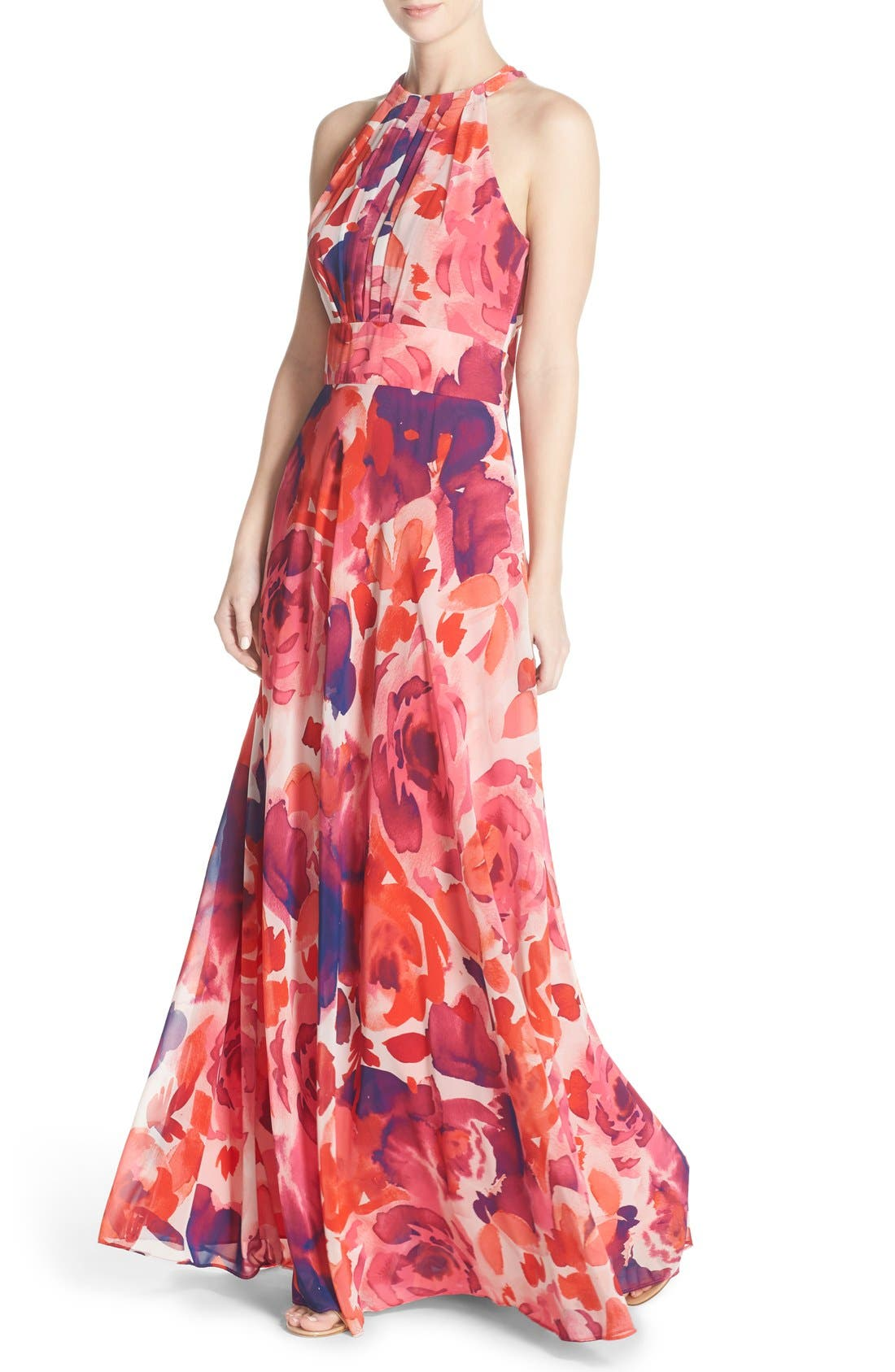 Eliza J Floral Print Halter Maxi Dress In Pink Coral Purple Modesens