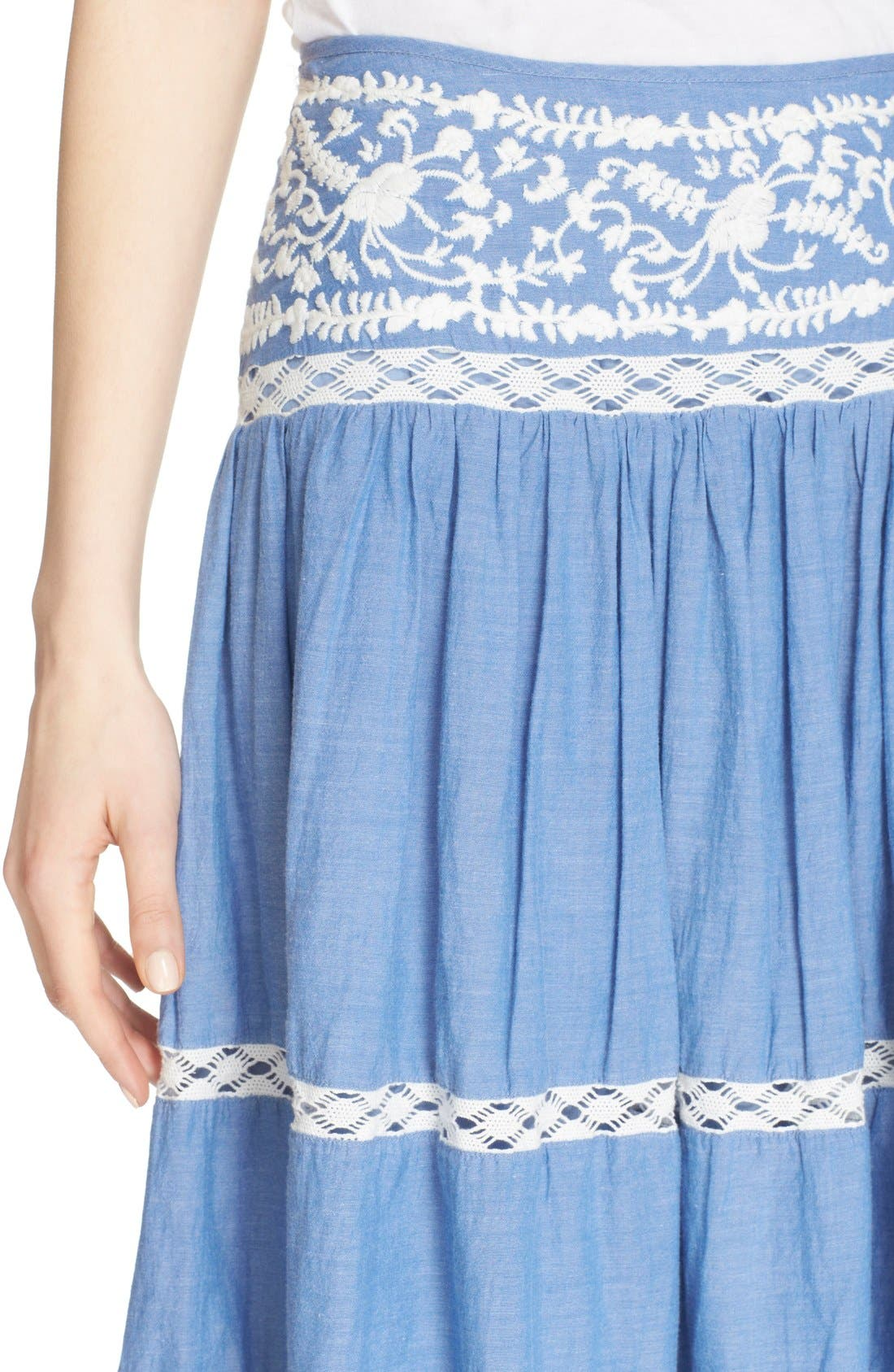 Alternate Image 4  - Joie Embroidered Chambray Skirt