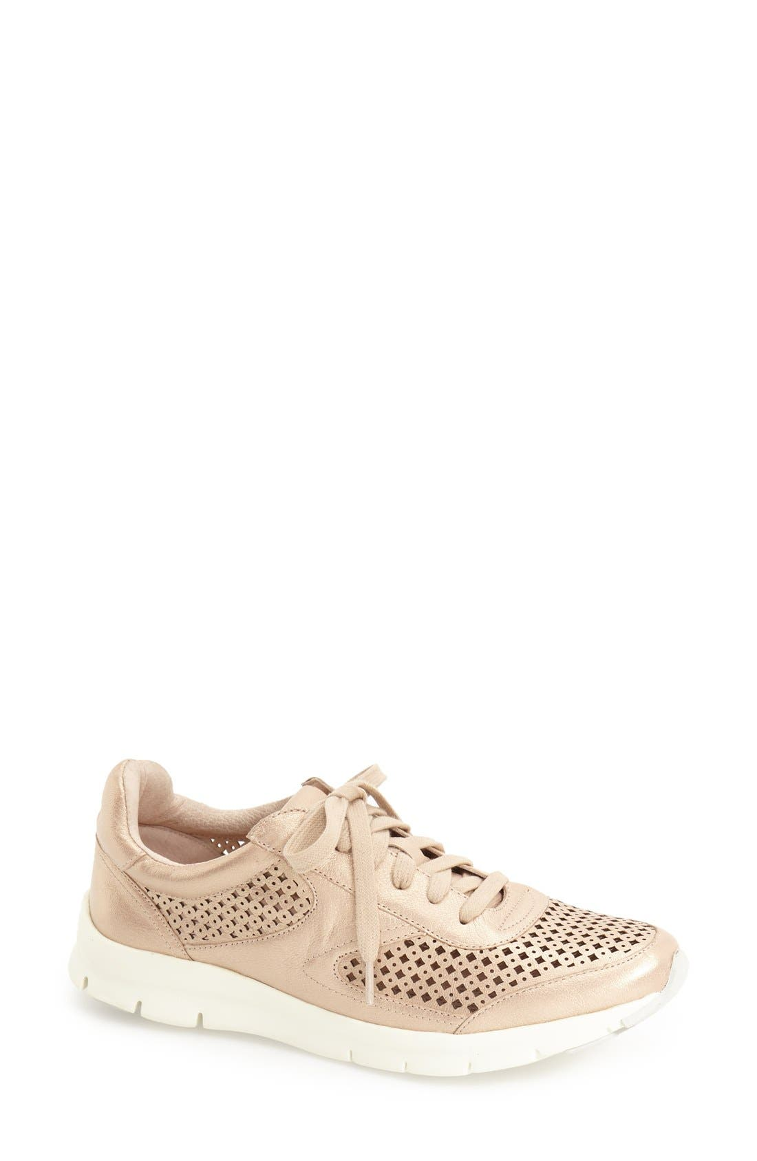 'Tammi' Perforated Leather Sneaker,                         Main,                         color, Sand Leather