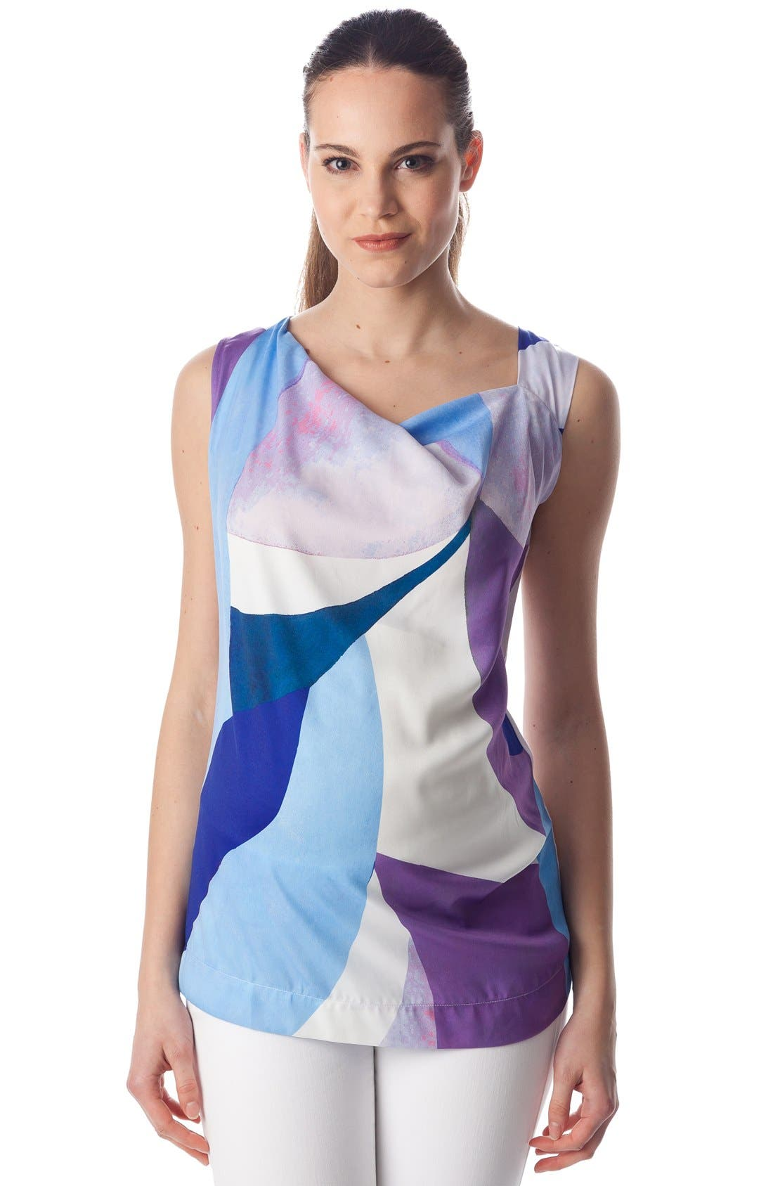 'Fialka' Graphic Maternity Top,                             Alternate thumbnail 4, color,                             Sky Surf/ White Jersey
