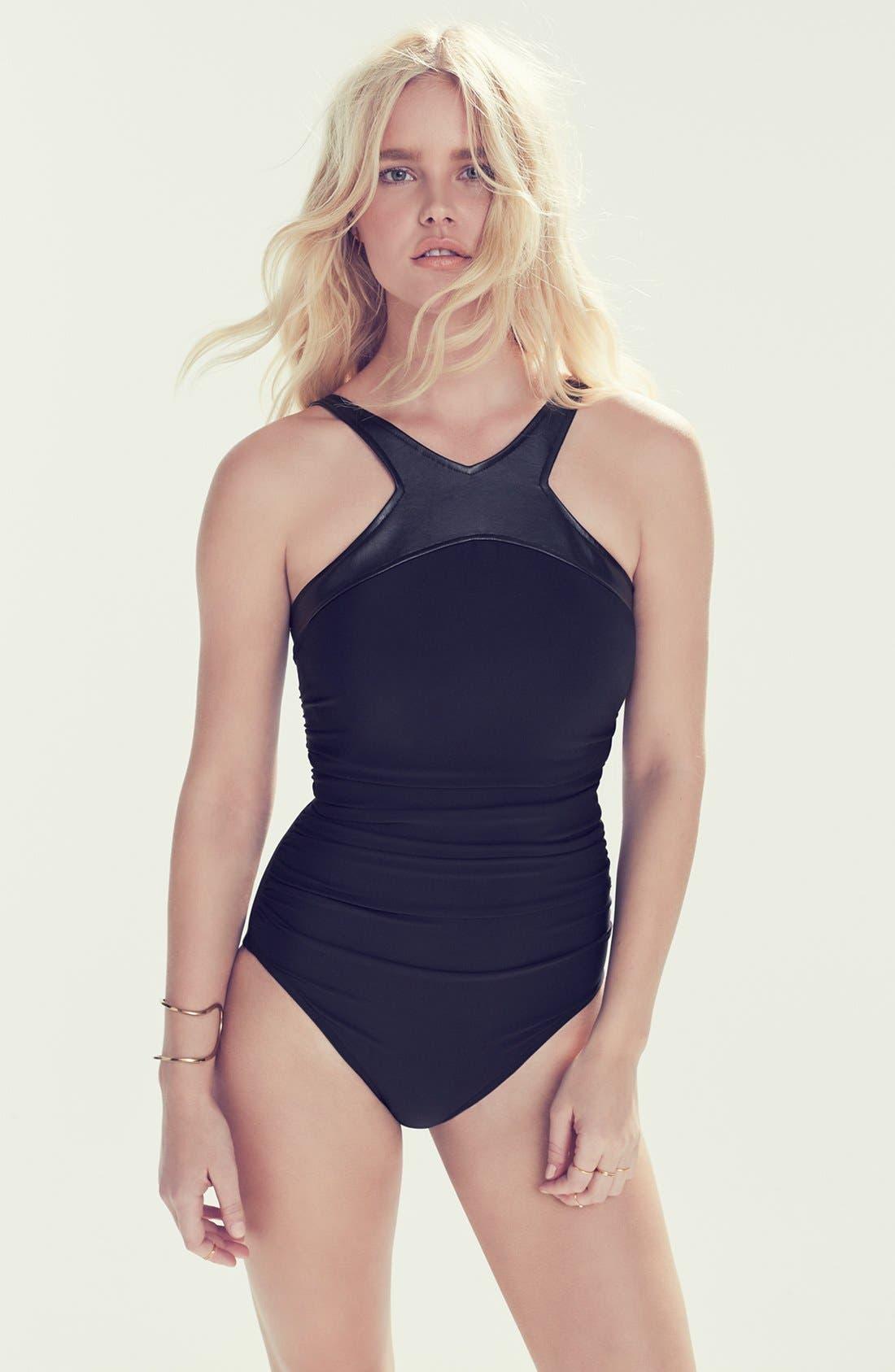 Alternate Image 6  - Magicsuit® 'Bonnie' Faux Leather Neck One-Piece Swimsuit