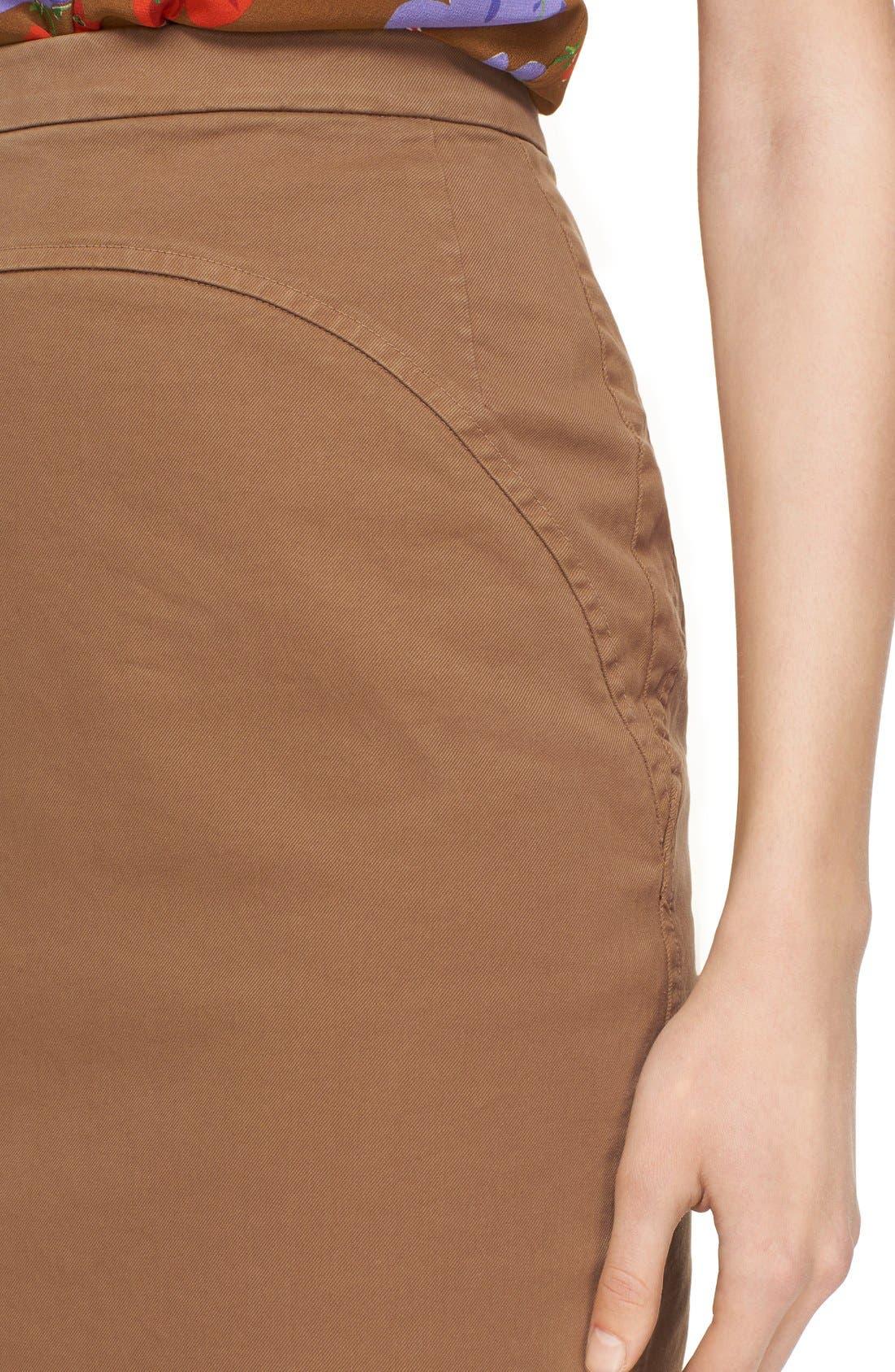 Alternate Image 4  - Nº21 'Lison' Frayed Hem Khaki Pencil Skirt