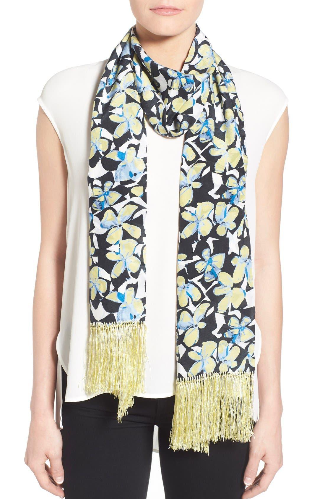 Badgley Mischka Floral Print Fringe Silk Scarf
