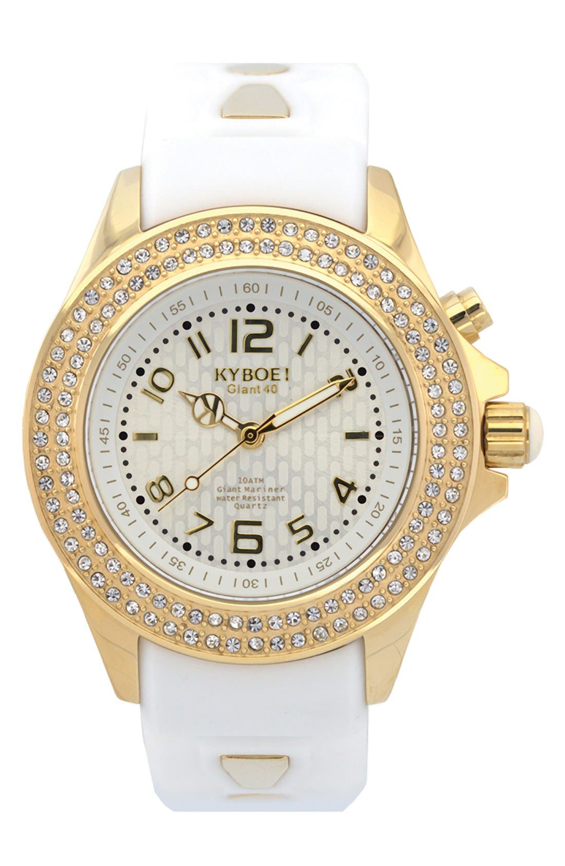'Radiant' Crystal Bezel Silicone Strap Watch, 40mm,                         Main,                         color, White/ Silver/ Gold