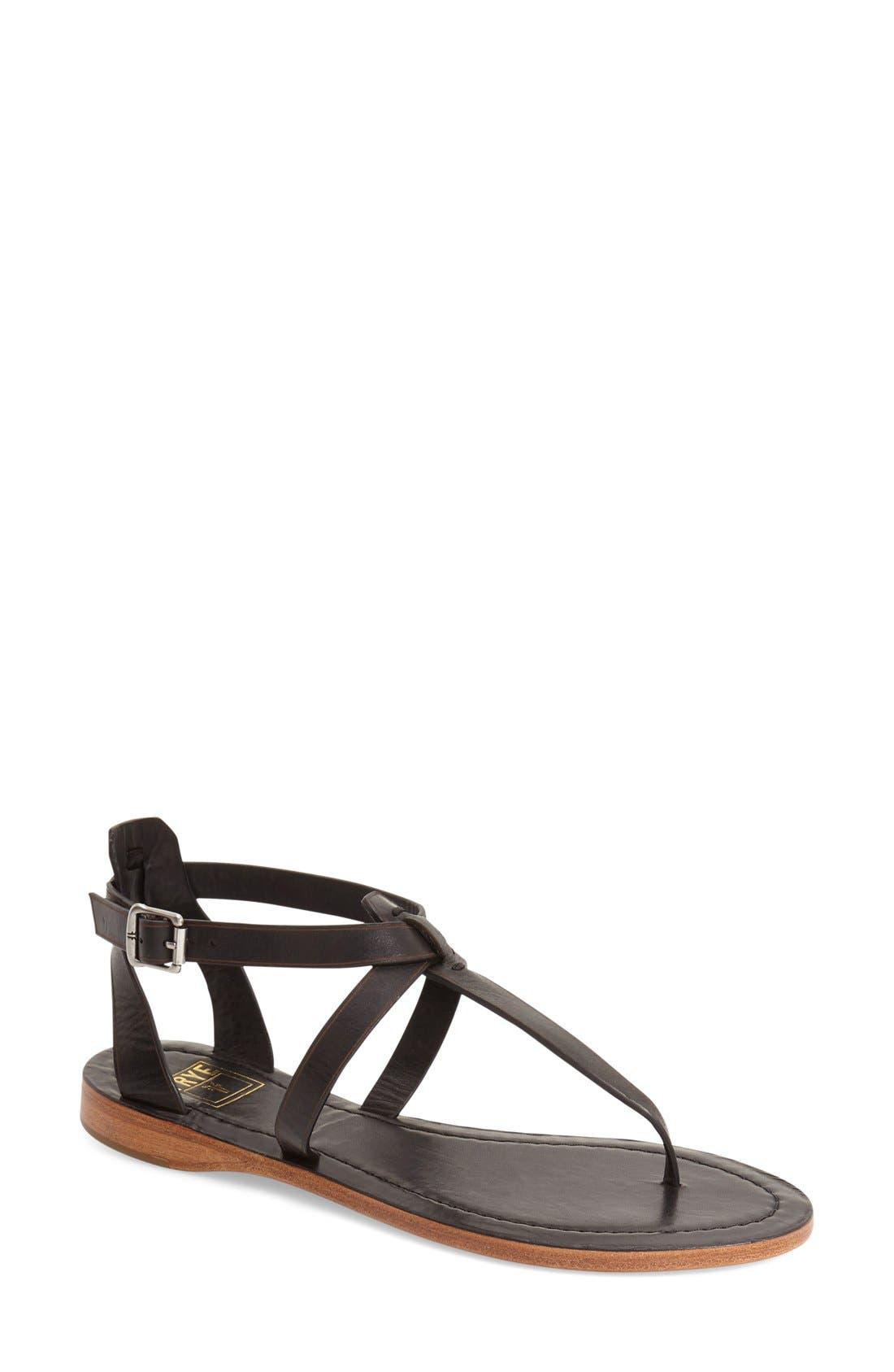 'Rachel' T-Strap Sandal,                             Main thumbnail 1, color,                             Black Leather