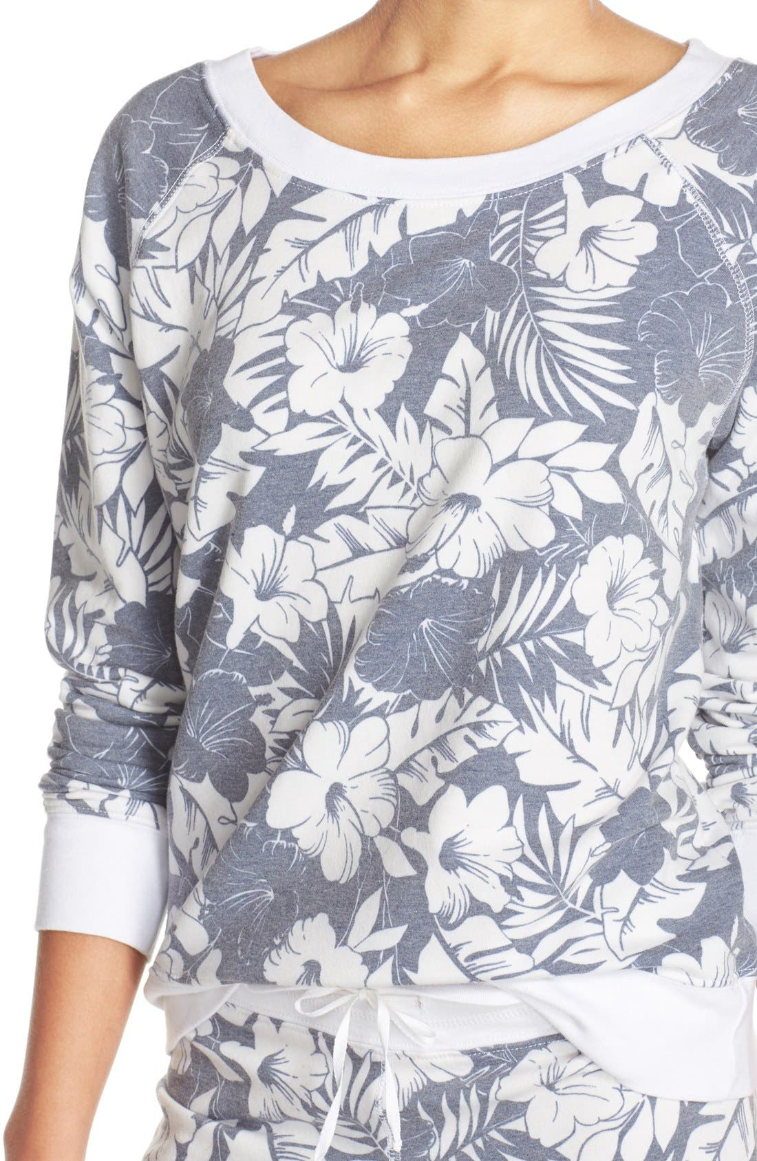 Alternate Image 4  - Love+Grace Floral Print French Terry Sweatshirt