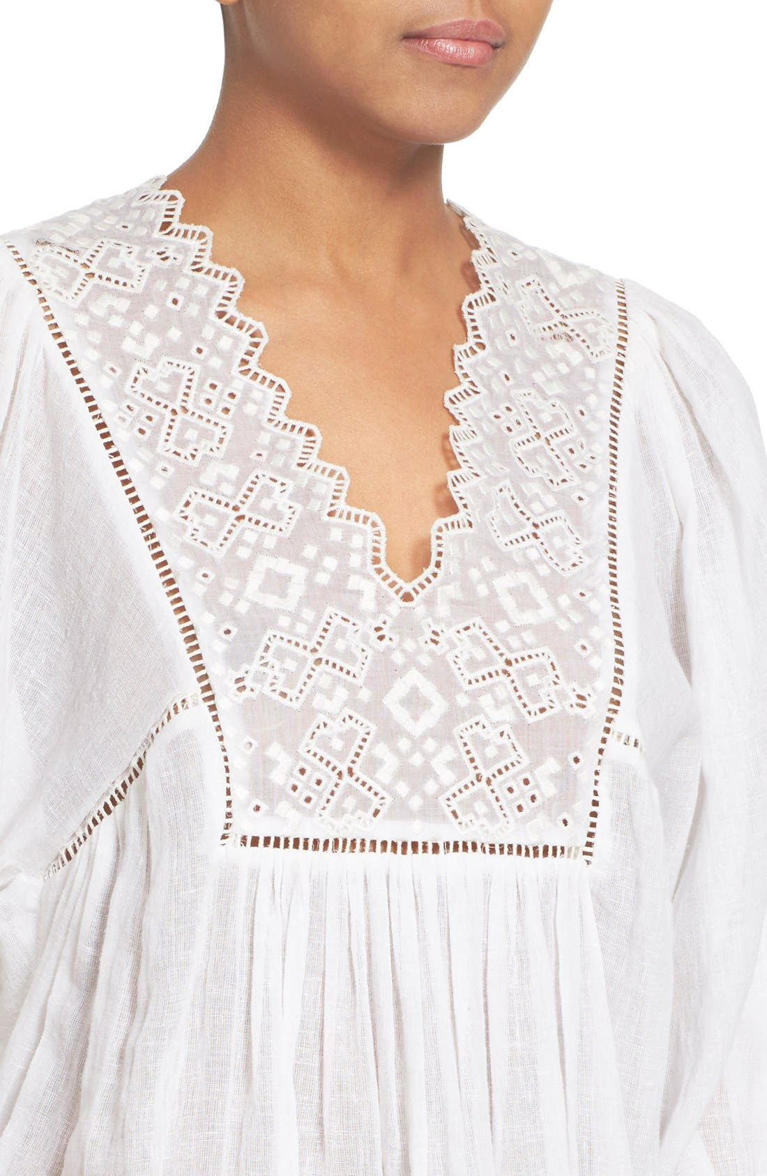 Alternate Image 4  - Rebecca Taylor Lace Trim Woven Peasant Top