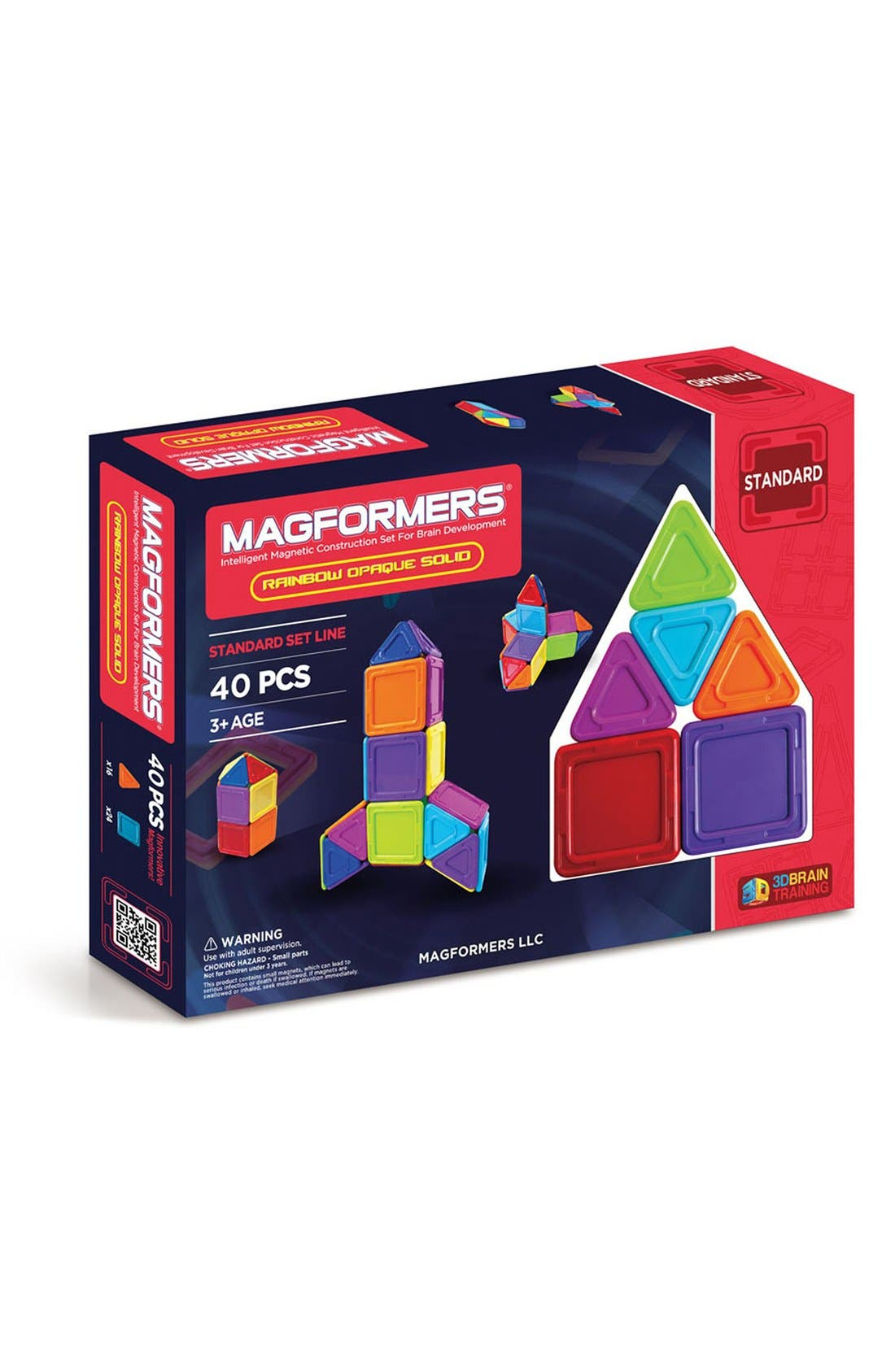 'Standard - Solids' Opaque Magnetic 3D Construction Set,                             Main thumbnail 1, color,                             Opaque Rainbow