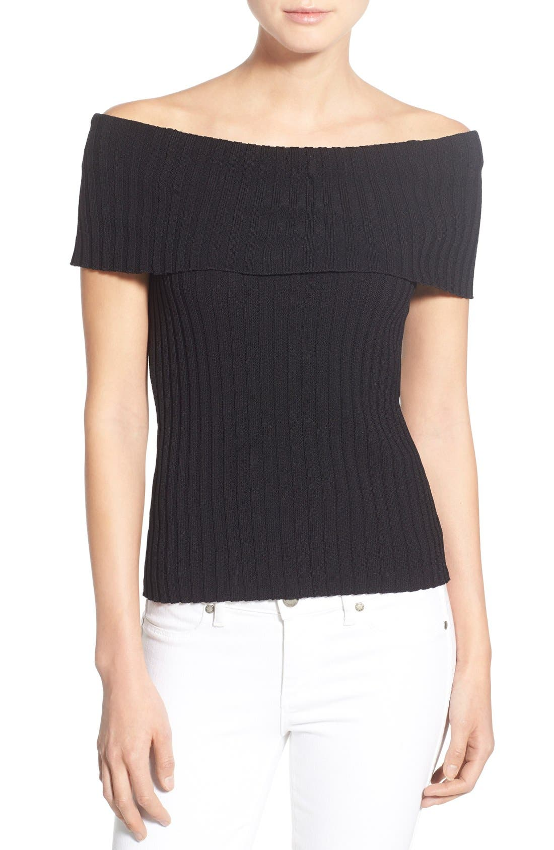 Main Image - Olivia Palermo + Chelsea28 Rib Knit Off the Shoulder Sweater