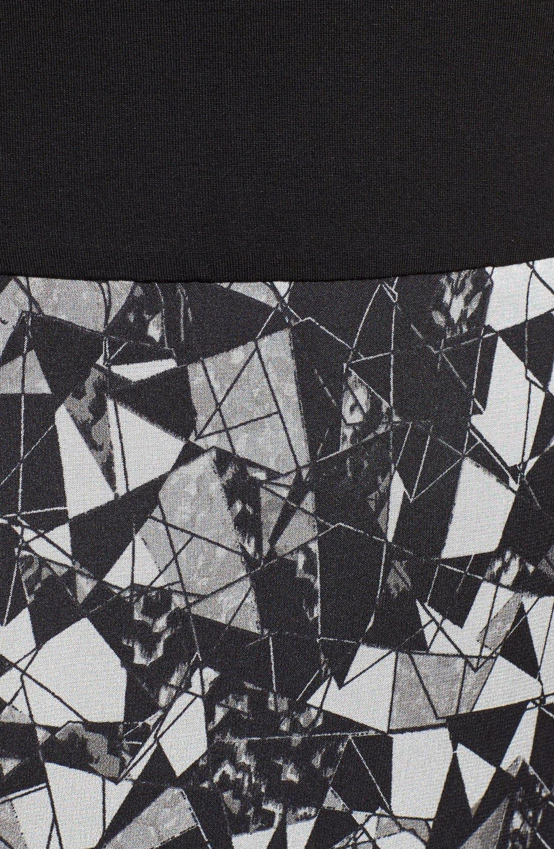 Print Chiffon Overlay Maxi Dress,                             Alternate thumbnail 5, color,                             Rich Black
