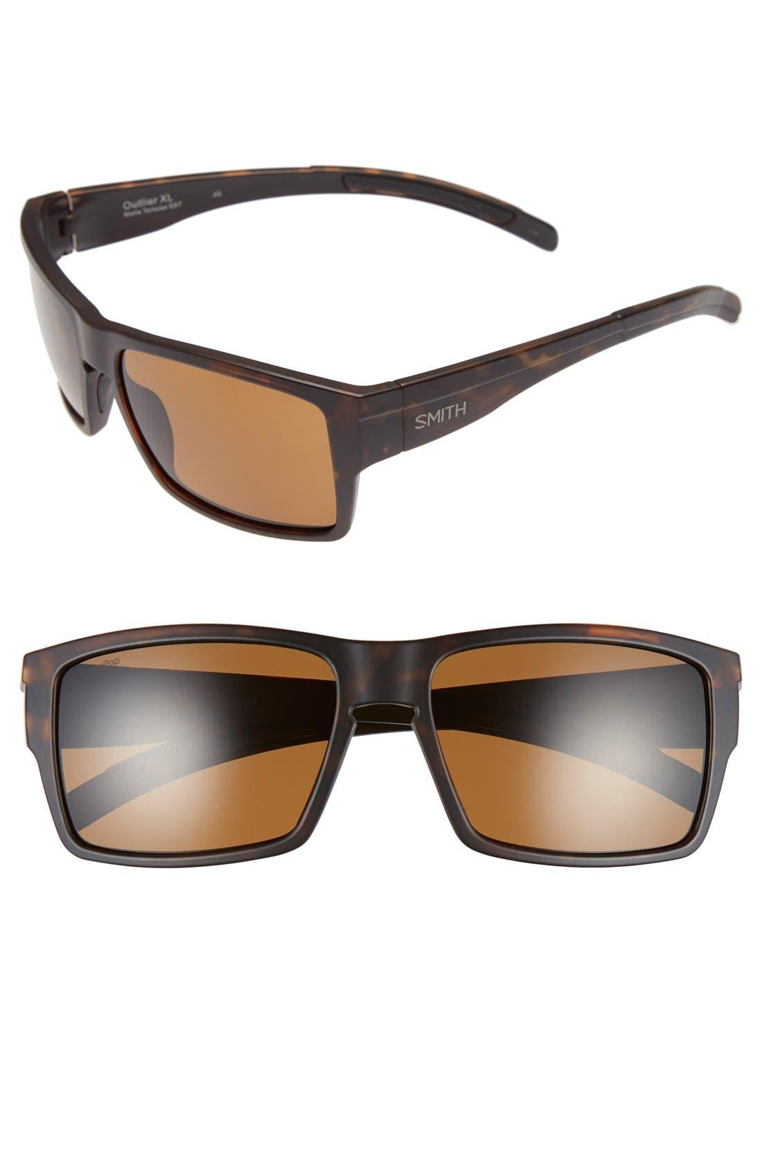 'Outlier XL' 56mm Polarized Sunglasses,                         Main,                         color, Matte Tortoise/ Polar Brown