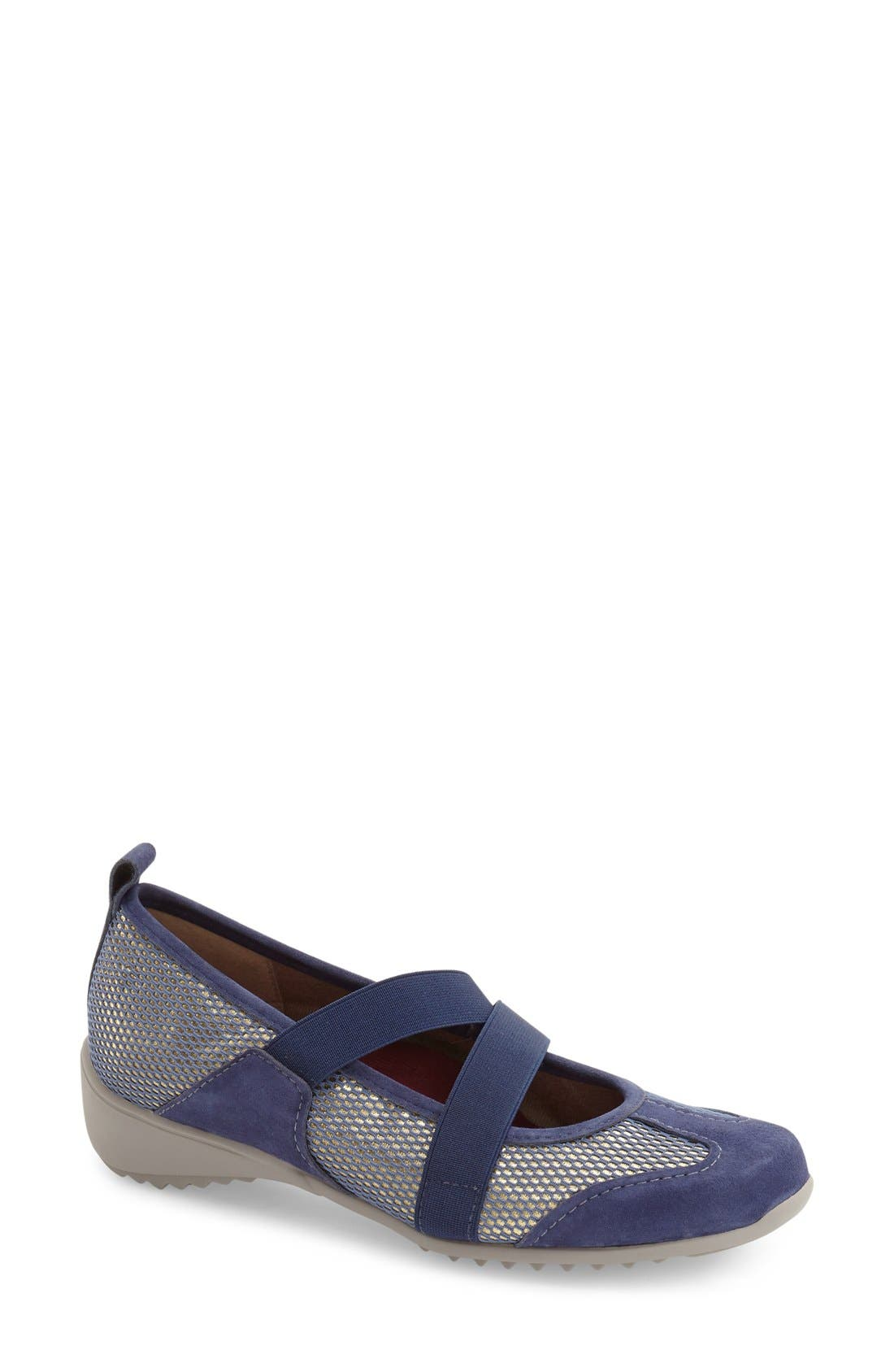 'Zip' Mary Jane Flat,                             Main thumbnail 1, color,                             Blue Combo