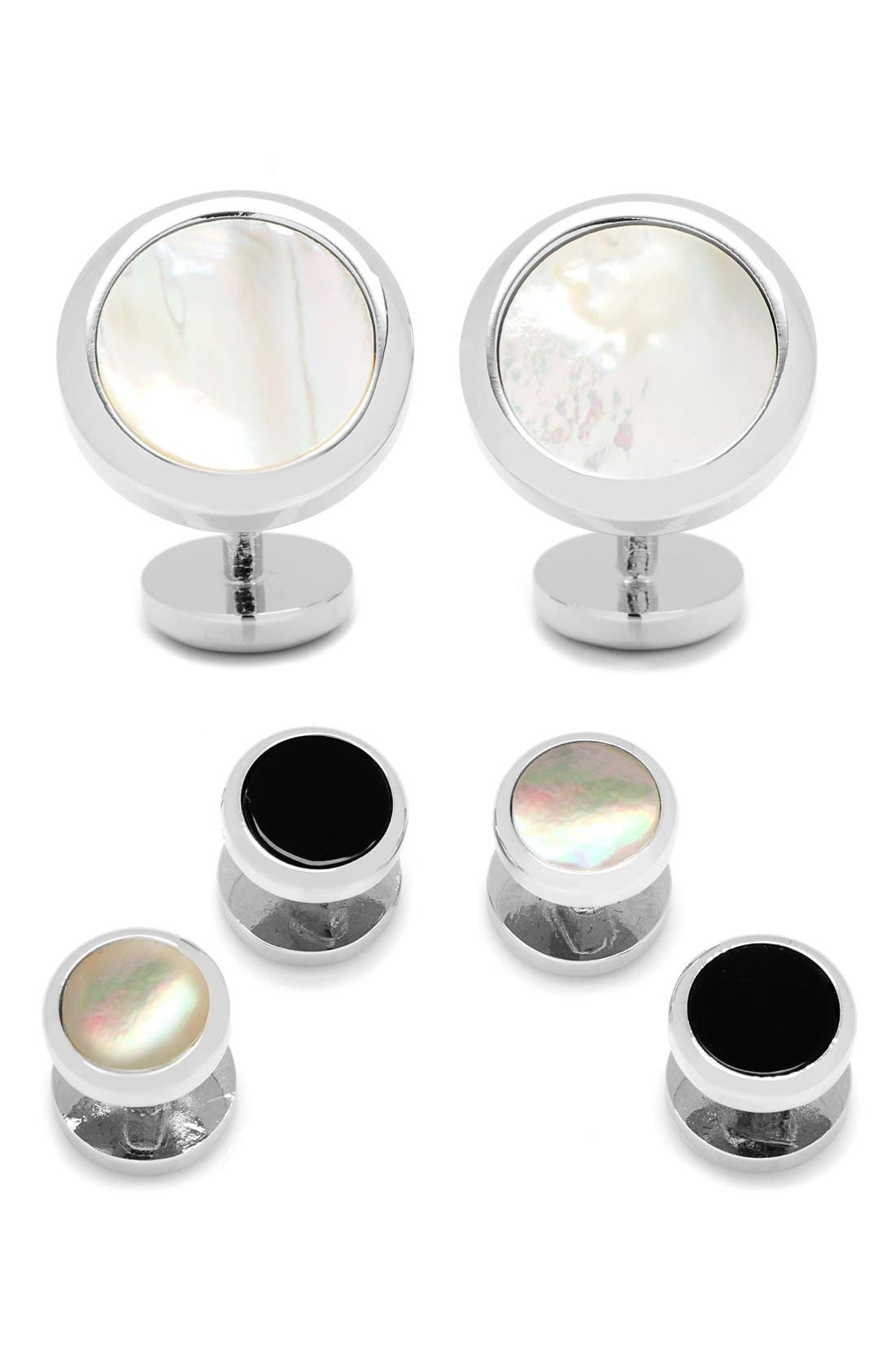 Mother-of-Pearl Cuff Links & Shirt Stud Set,                         Main,                         color, White
