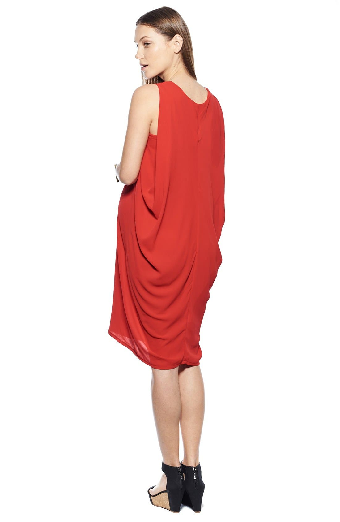 Cocoon Maternity Dress,                             Alternate thumbnail 2, color,                             Red