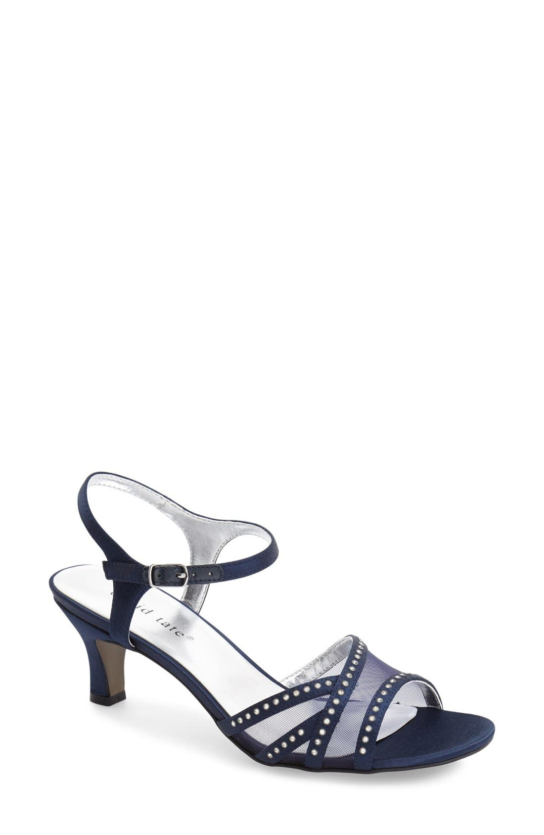 'Violet - Night Out' Sandal,                         Main,                         color, Navy Satin