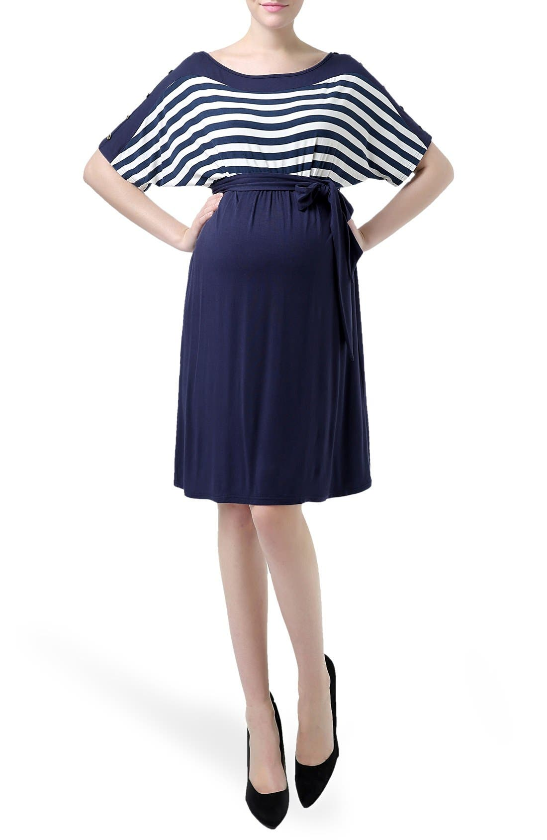 'Willow' Stripe Maternity Dress,                         Main,                         color, Navy/ Ivory