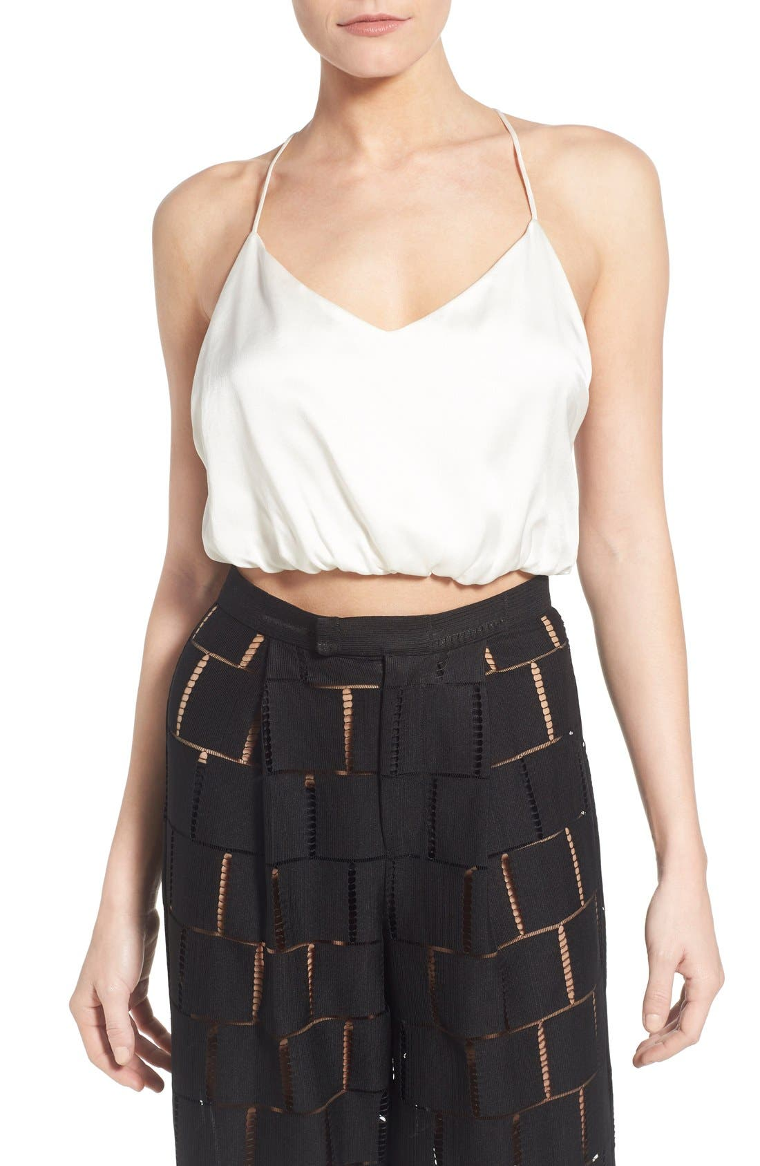 Silk Crop Top,                             Main thumbnail 1, color,                             White