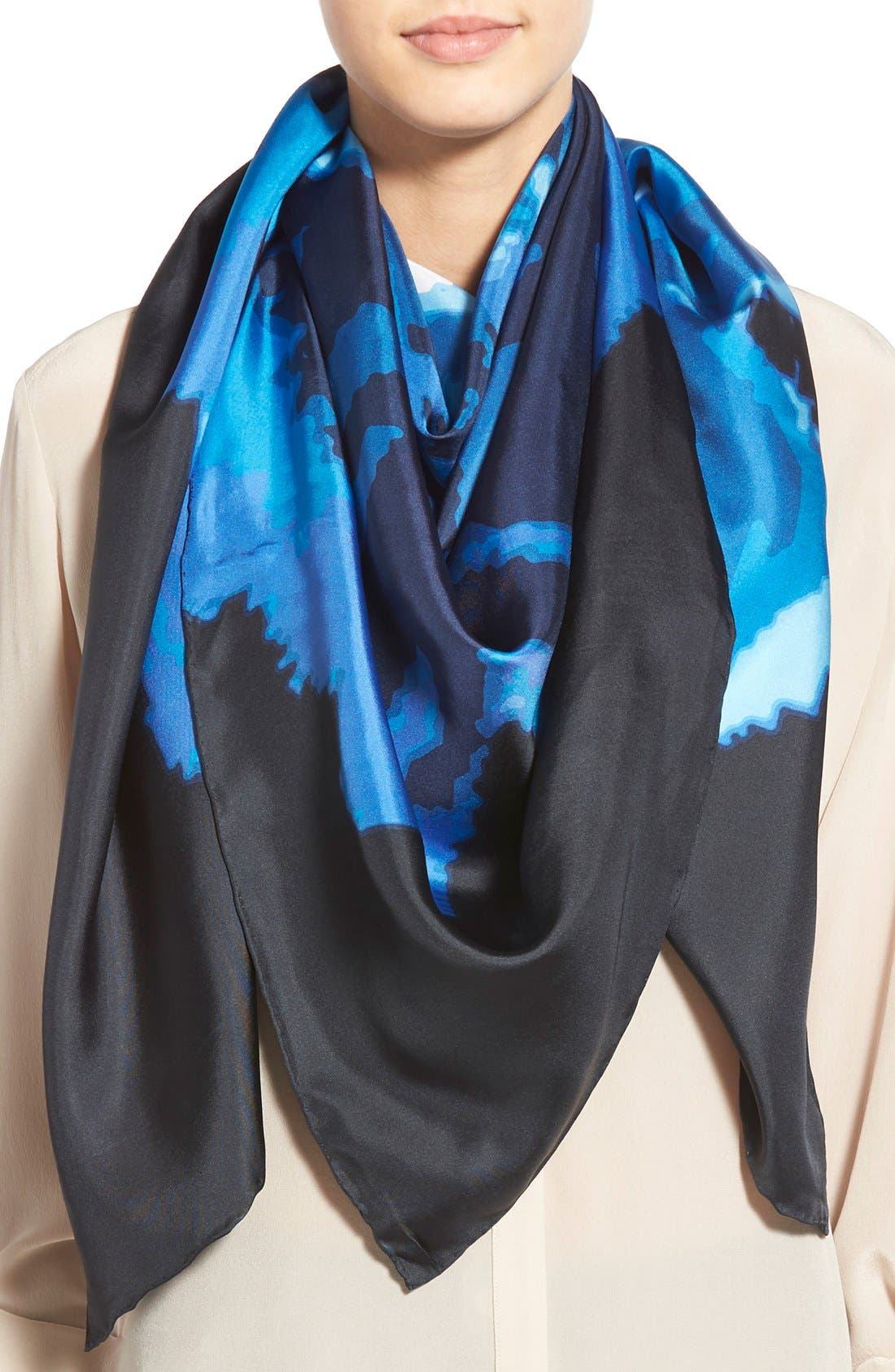 'Claremont' Rose' Silk Square Scarf,                         Main,                         color, Navy