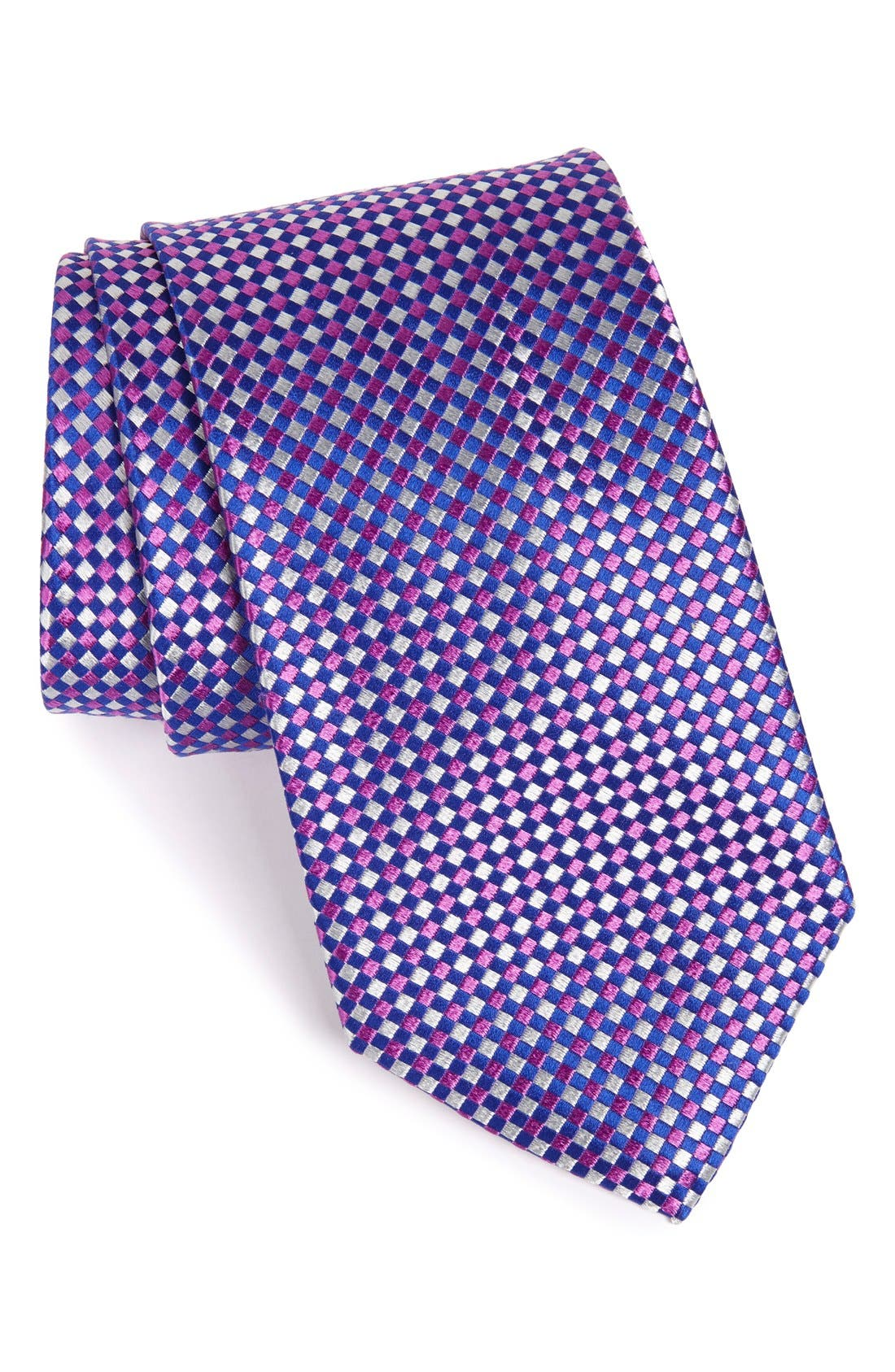 Main Image - Nordstrom Men's Shop Check Silk Tie (X-Long)