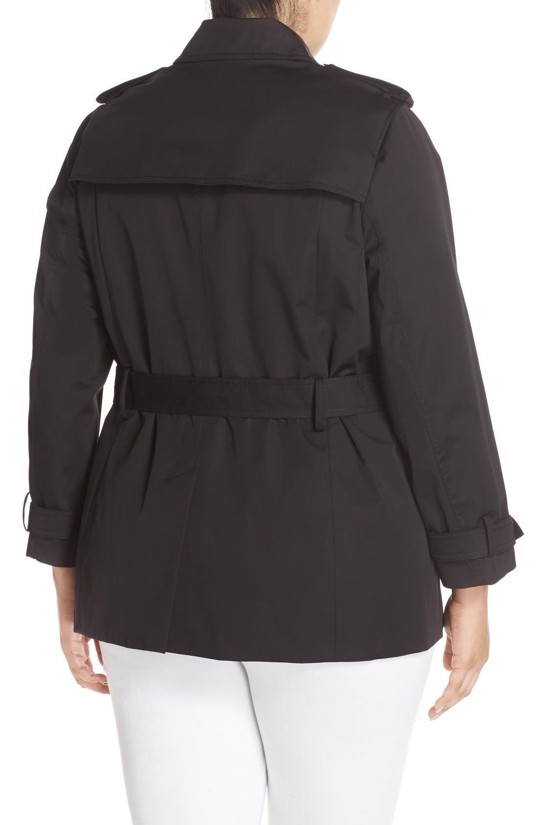 Short Zip Trench Coat,                             Alternate thumbnail 2, color,                             Black