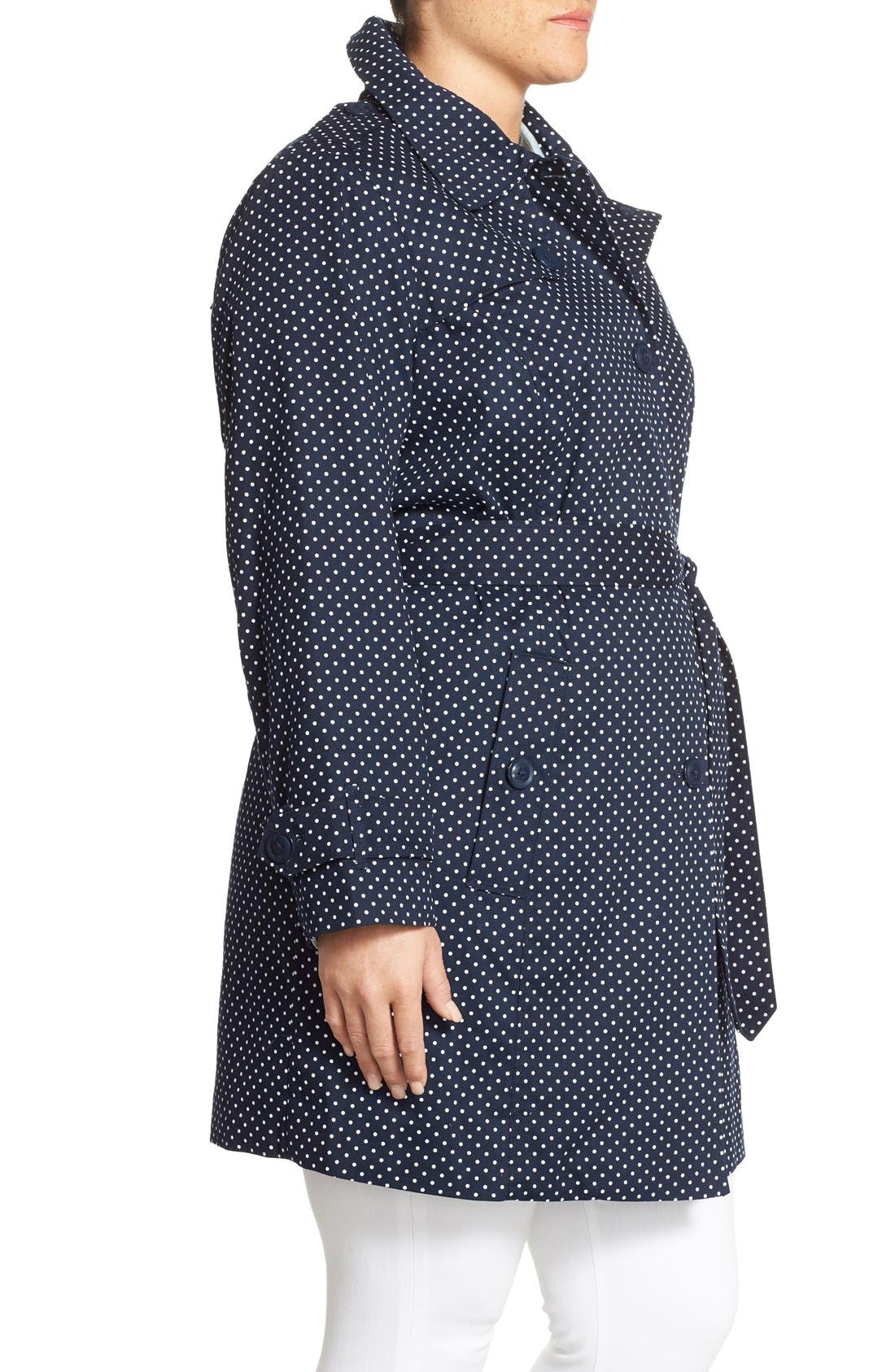 Alternate Image 3  - London Fog Polka Dot Single Breasted Trench Coat (Plus Size)