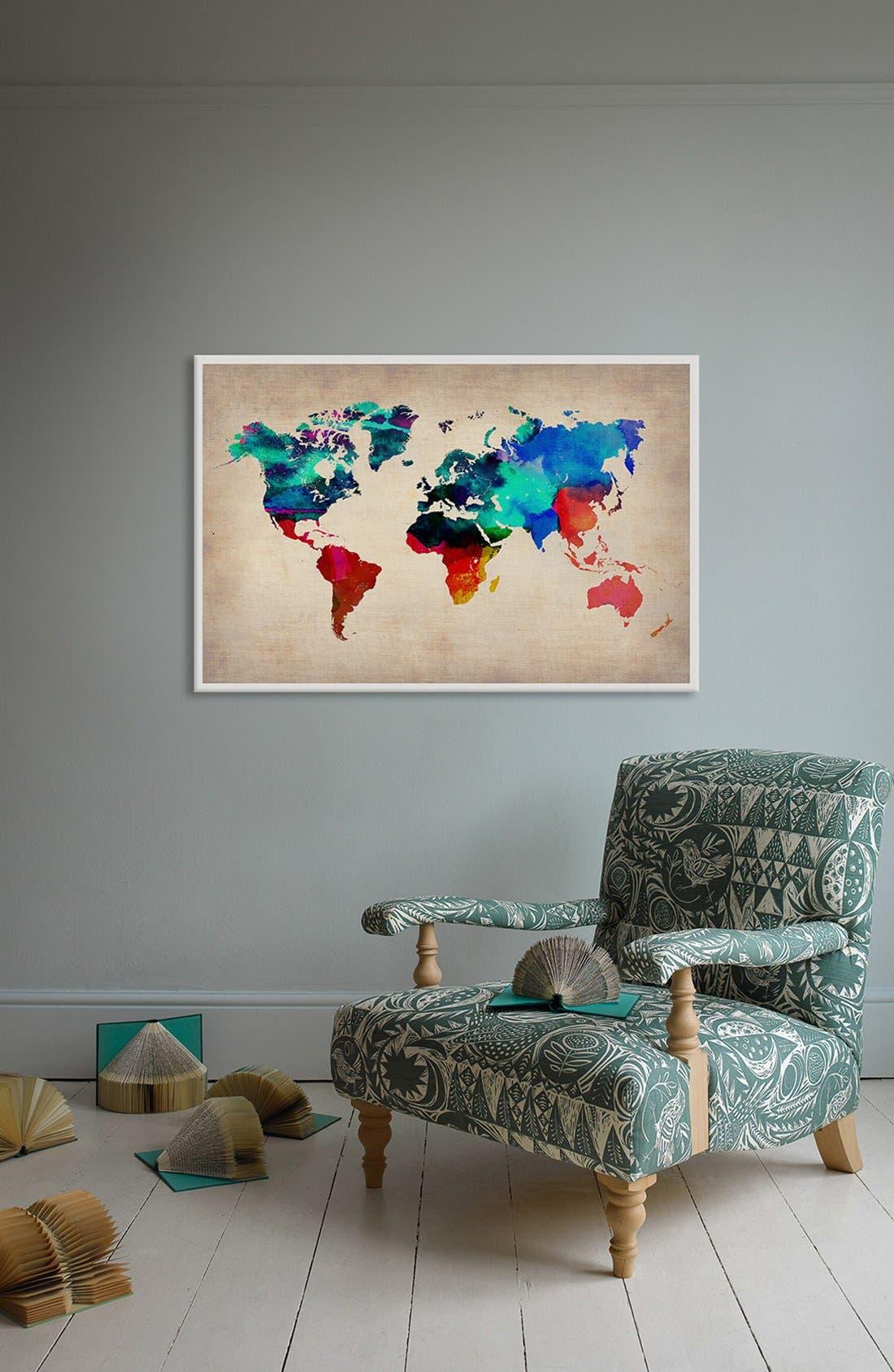 'World Watercolor Map' Giclée Print Canvas Art,                             Alternate thumbnail 2, color,                             Beige