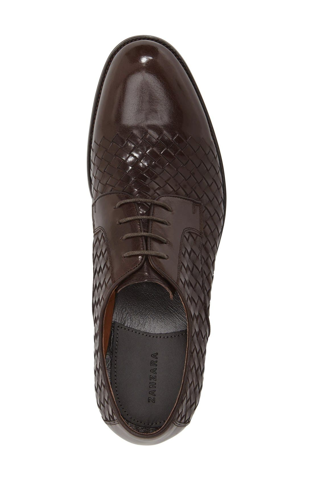 'Beethoven' Plain Toe Derby,                             Alternate thumbnail 3, color,                             Brown Leather