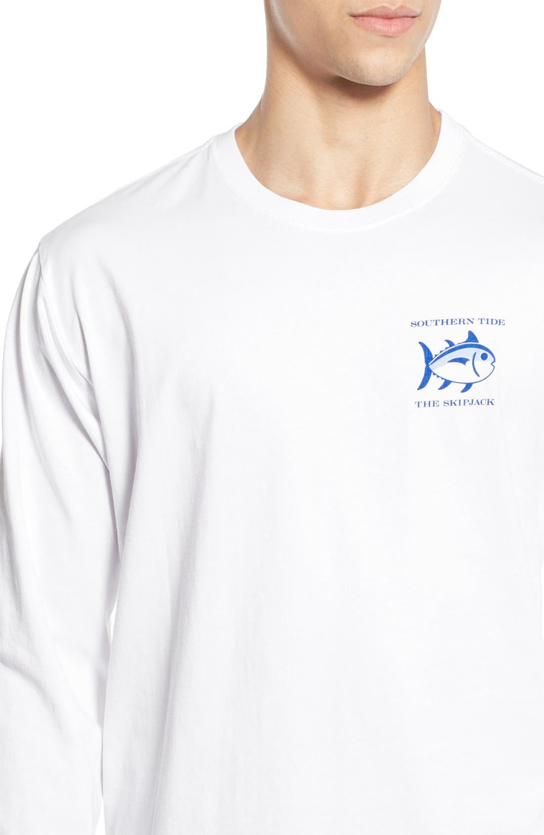 'Skipjack' Long Sleeve Graphic T-Shirt,                             Alternate thumbnail 4, color,                             Classic White
