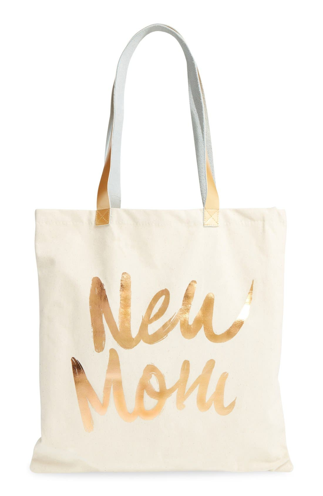 'New Mom' Canvas Tote,                             Alternate thumbnail 3, color,                             White/ Gold