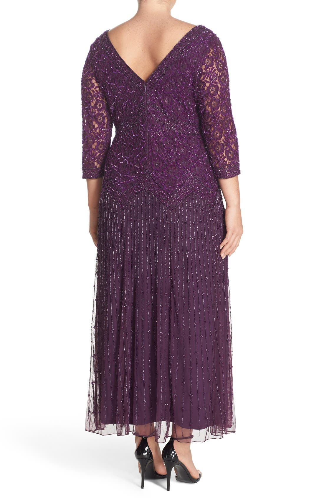 Beaded V-Neck Lace Illusion Gown,                             Alternate thumbnail 2, color,                             Plum