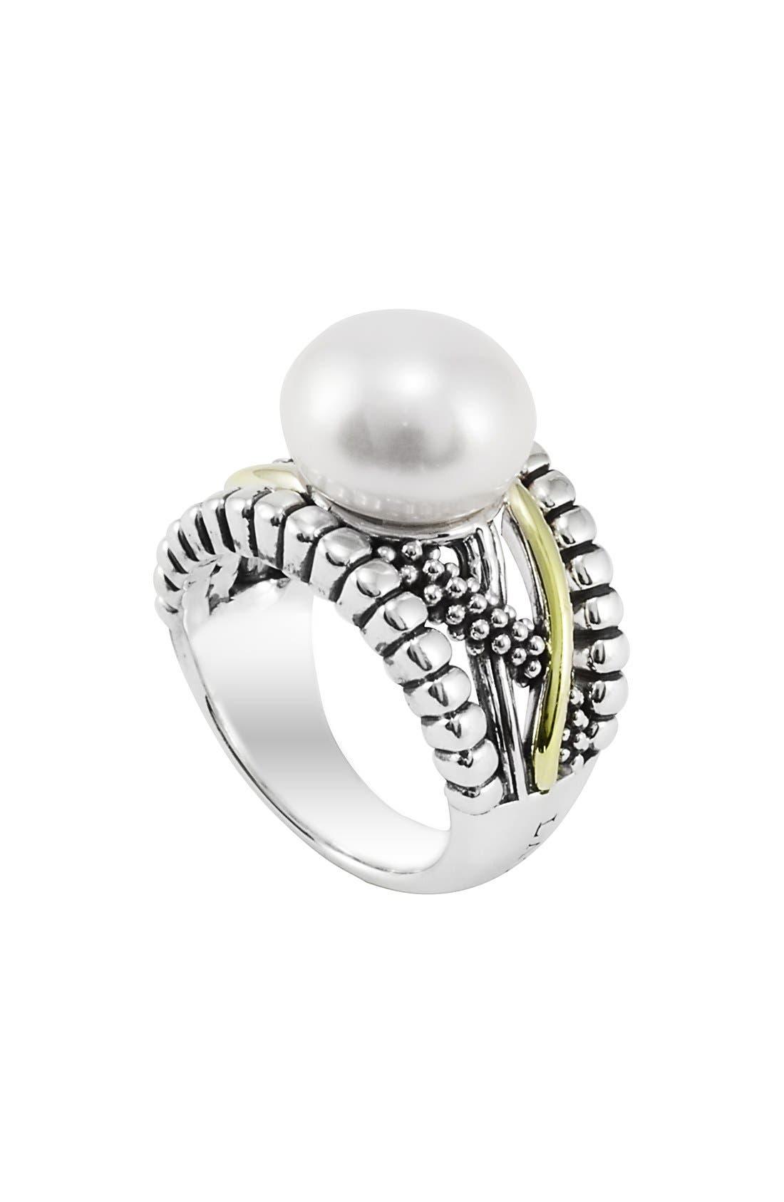 Alternate Image 1 Selected - LAGOS 'Luna - Unlaced' Pearl Ring