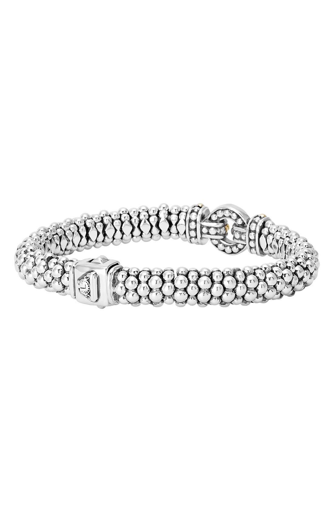 'Enso' Two-Tone Rope Caviar Bracelet,                             Alternate thumbnail 3, color,                             Silver/ Gold