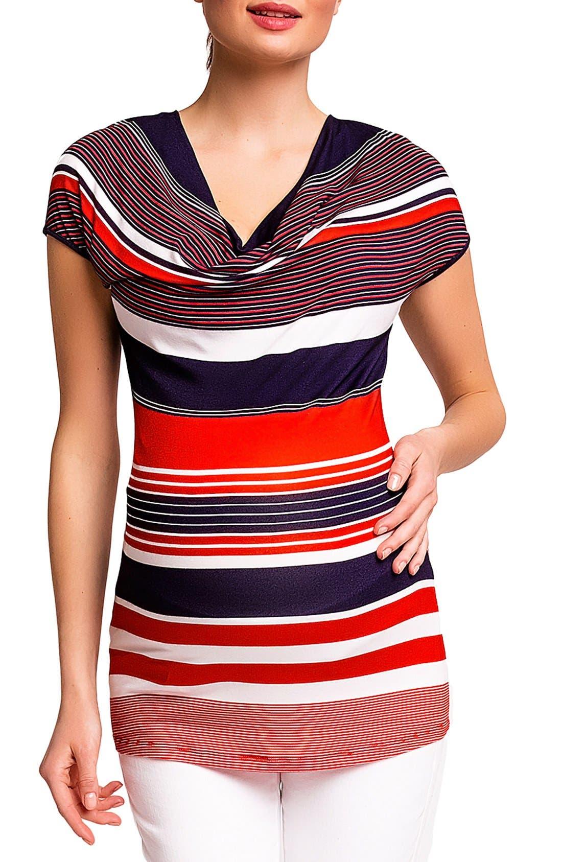 'Ginestra' Maternity/Nursing Tunic,                             Main thumbnail 1, color,                             Red/Blue Stripes