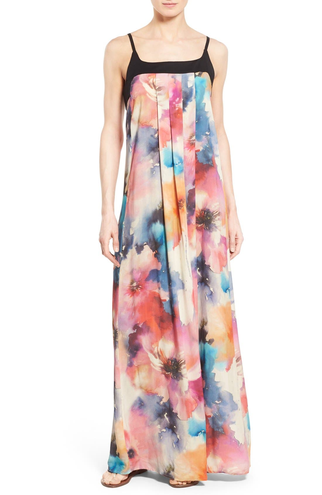 Main Image - Matty M Print Sleeveless Pleat Maxi Dress