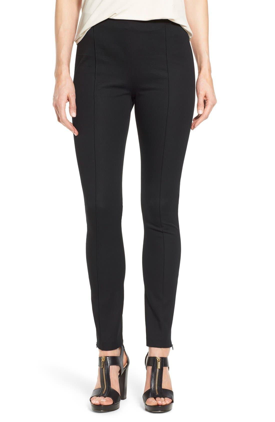 Alternate Image 1 Selected - MICHAEL Michael Kors 'Hutton' Ankle Zip Slim Pintuck Pants (Petite)