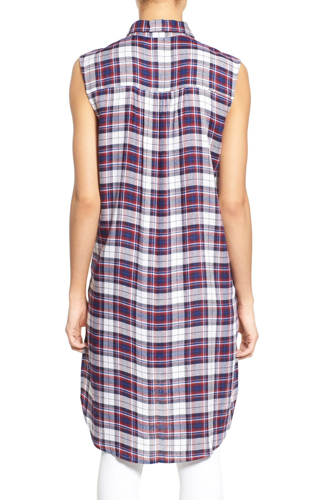 Alternate Image 2  - Bobeau Plaid Two Pocket Sleeveless Tunic Shirt