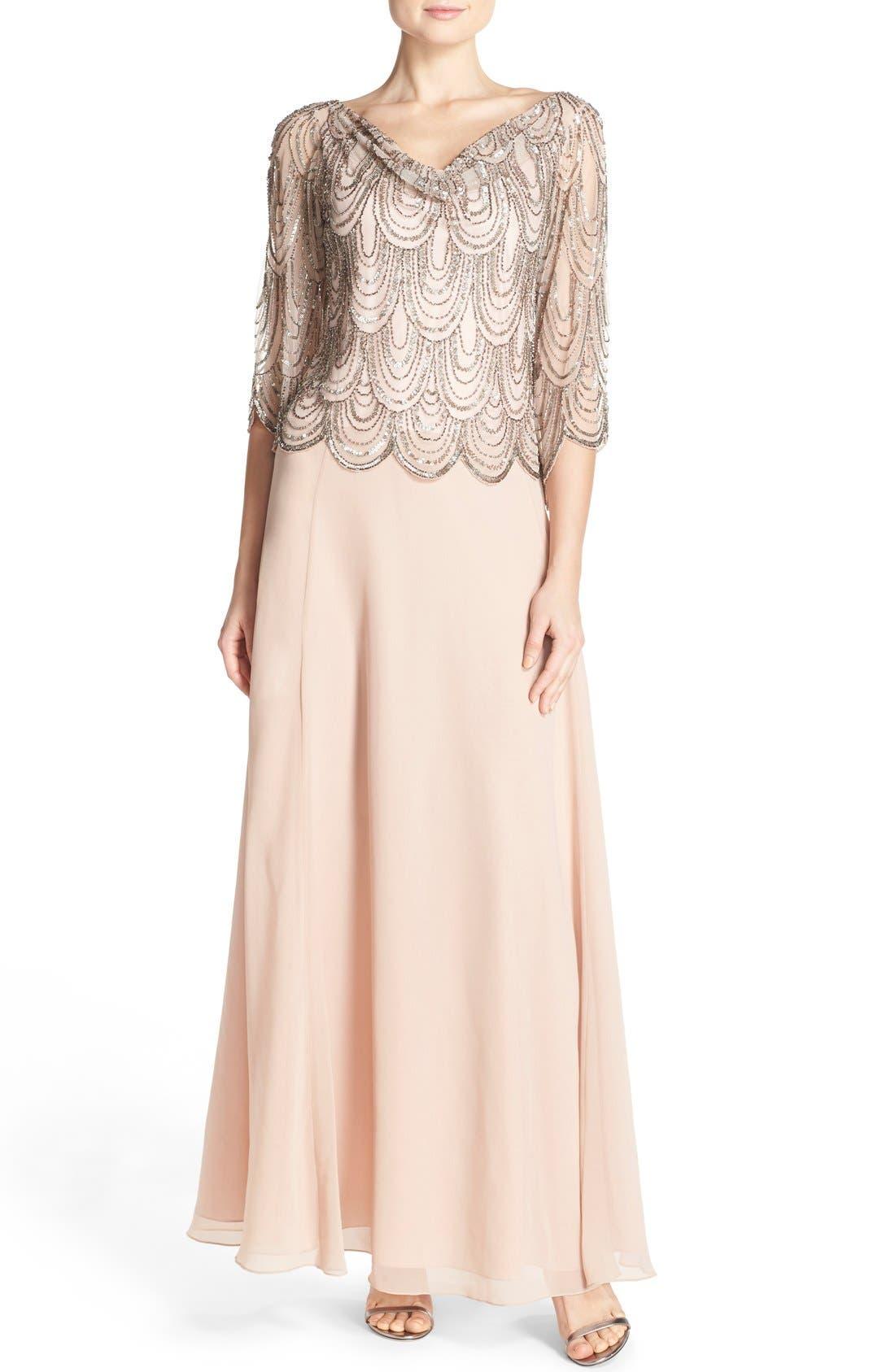 Alternate Image 1 Selected - J Kara Scallop Embellished Popover Gown