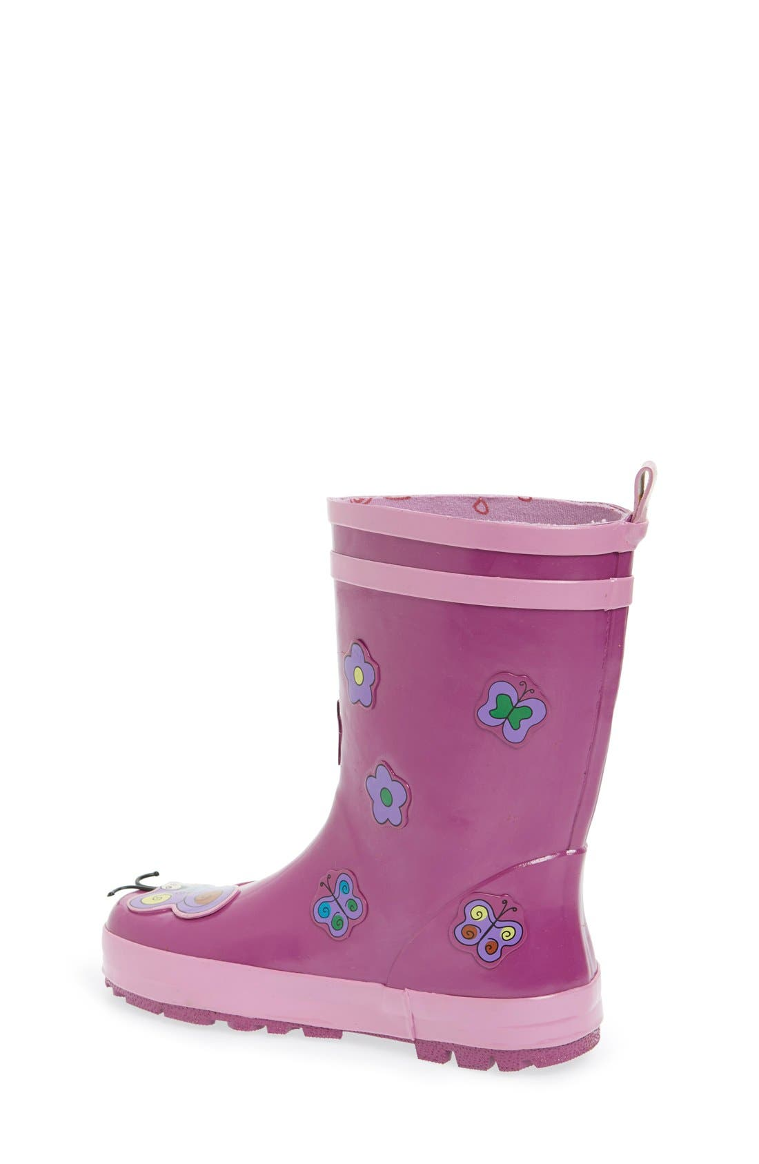 'Butterfly' Waterproof Rain Boot,                             Alternate thumbnail 2, color,                             Purple
