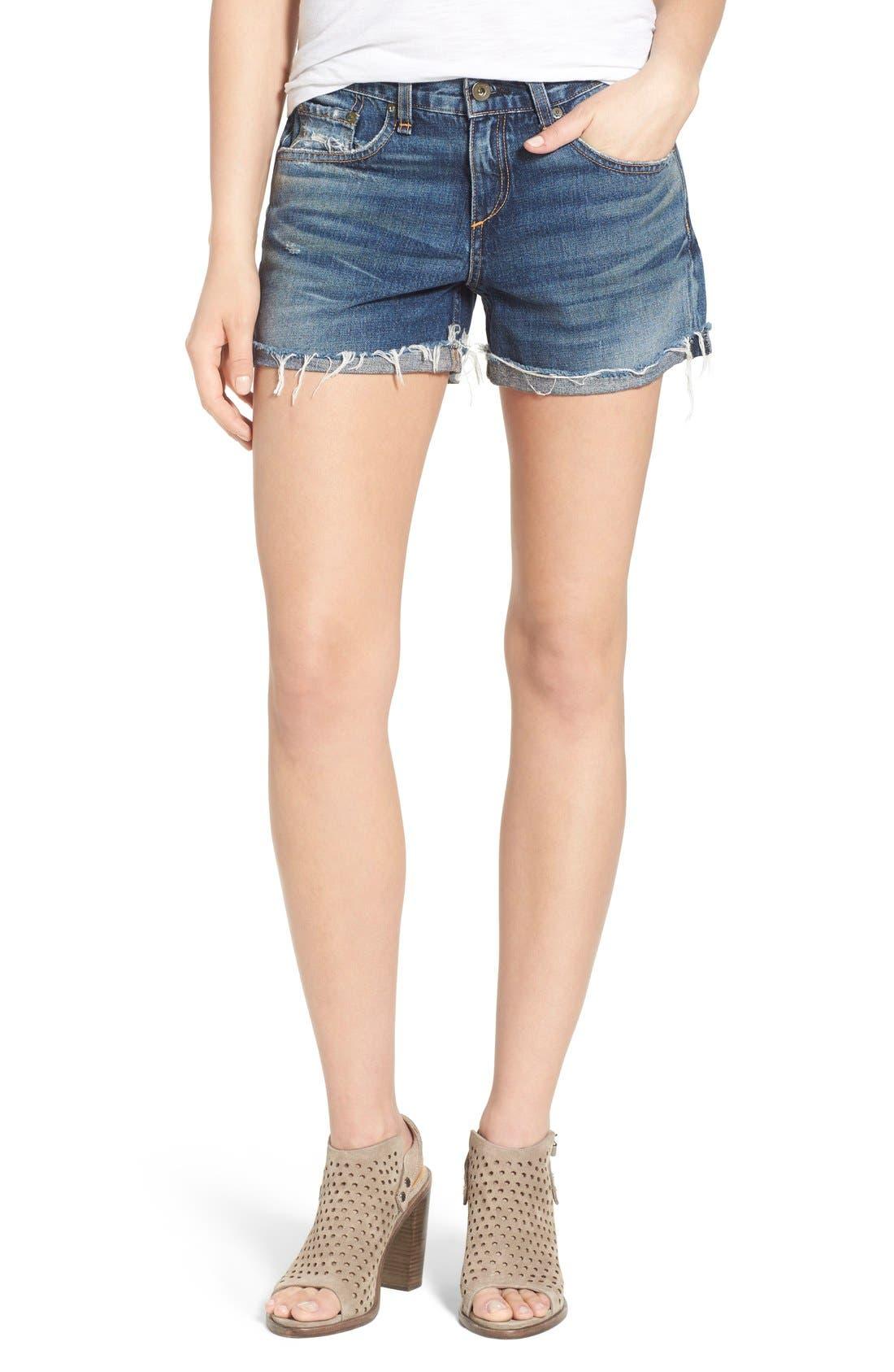 Alternate Image 1 Selected - rag & bone 'Boyfriend' Cutoff Denim Shorts (Woodstock)