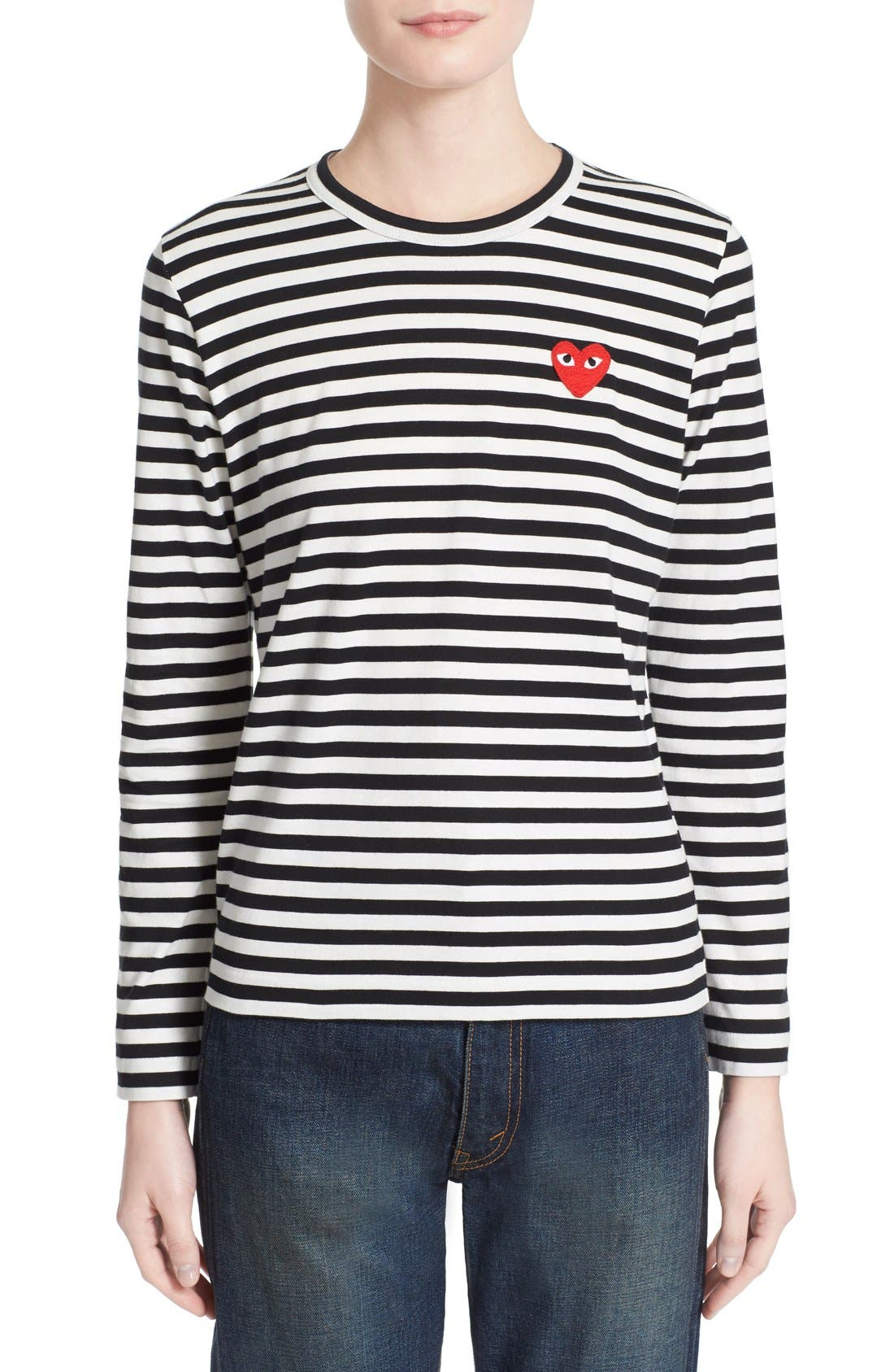 'Play' Stripe Cotton Tee,                         Main,                         color, Black/ White