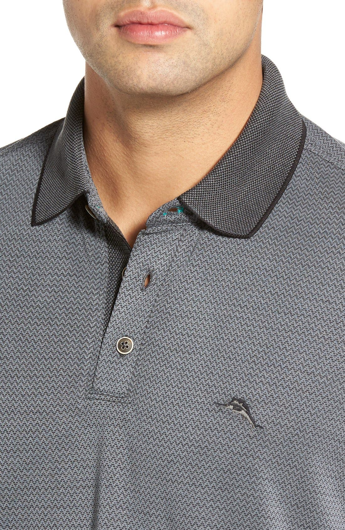Ocean View Short Sleeve Jacquard Polo,                             Alternate thumbnail 4, color,                             Black