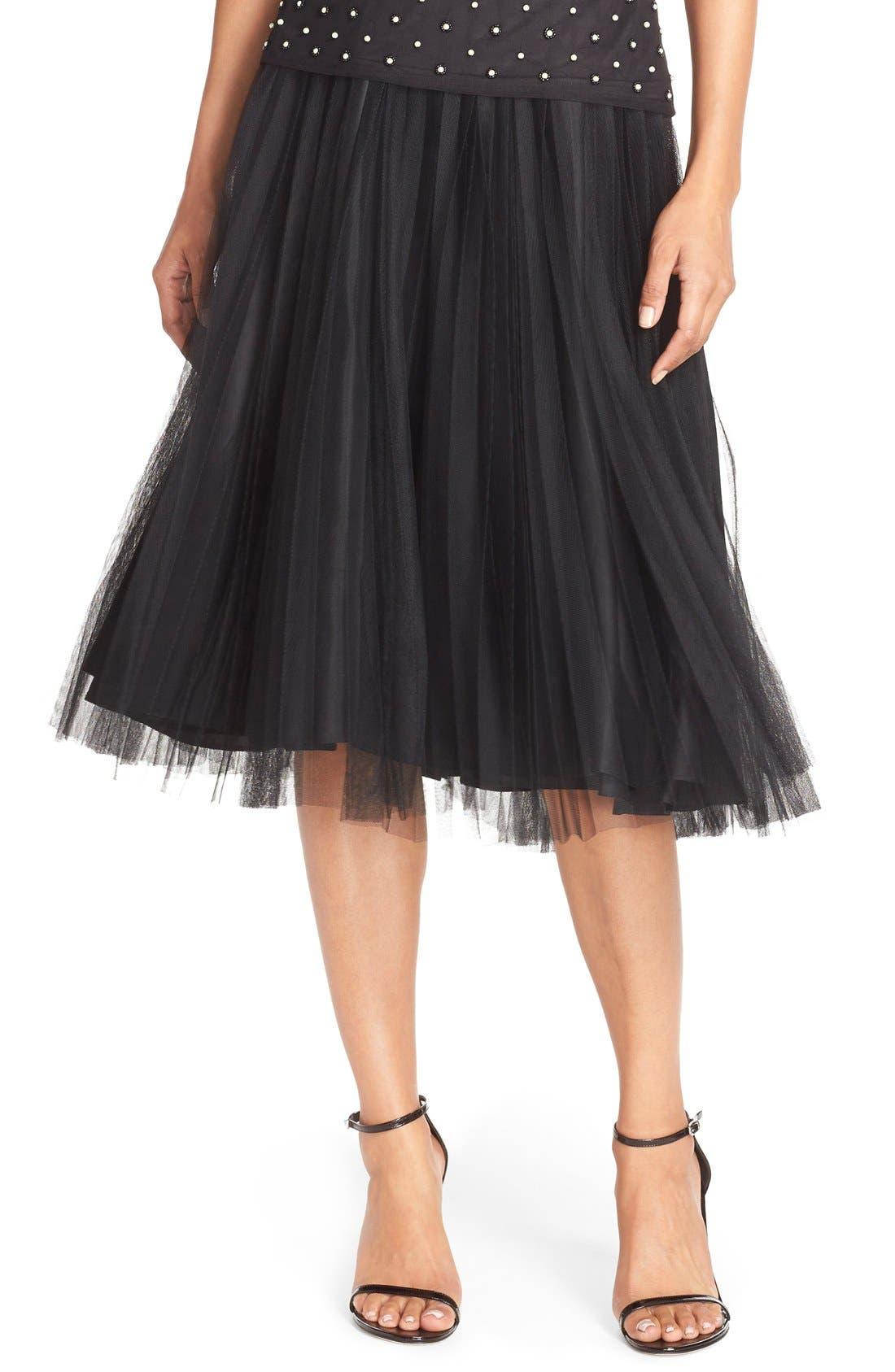 Main Image - Adrianna Papell Pleated Tulle Midi Skirt
