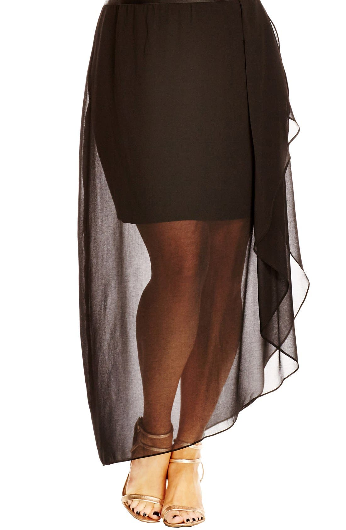 Alternate Image 1 Selected - City Chic Layered Frill Skirt (Plus Size)