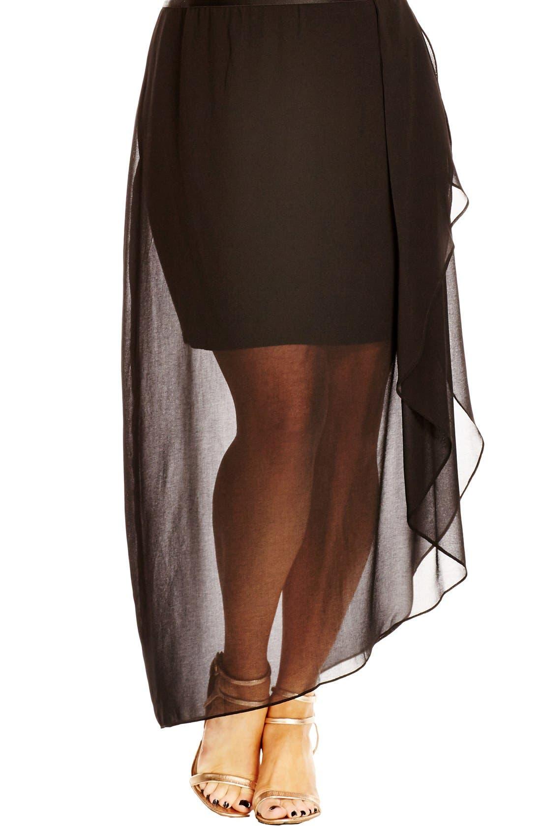 Layered Frill Skirt,                         Main,                         color, Black