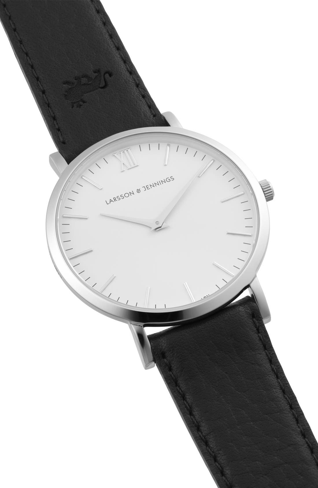'Lugano' Leather Strap Watch, 40mm,                             Alternate thumbnail 5, color,                             Black/ White